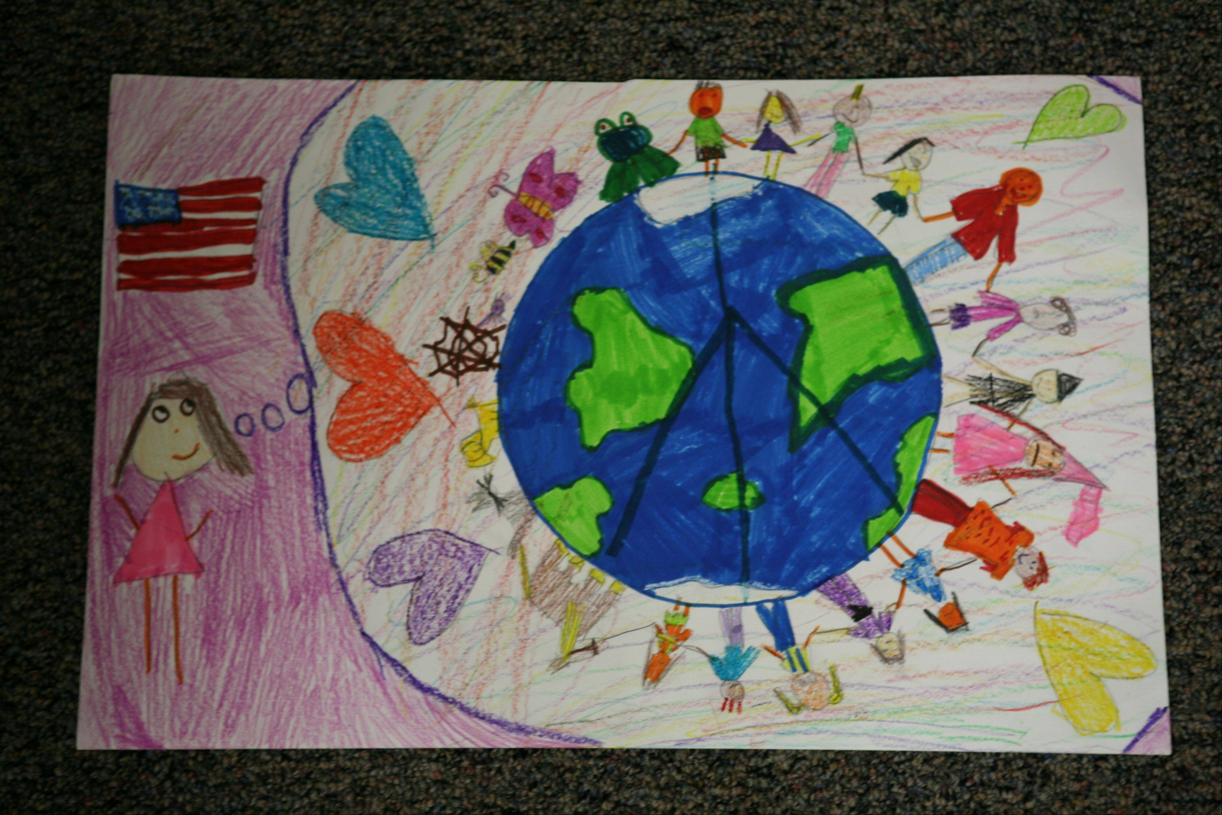 Olivia Cichowals' winning poster in the Elk Grove Village Lions International Peace Poster Contest.