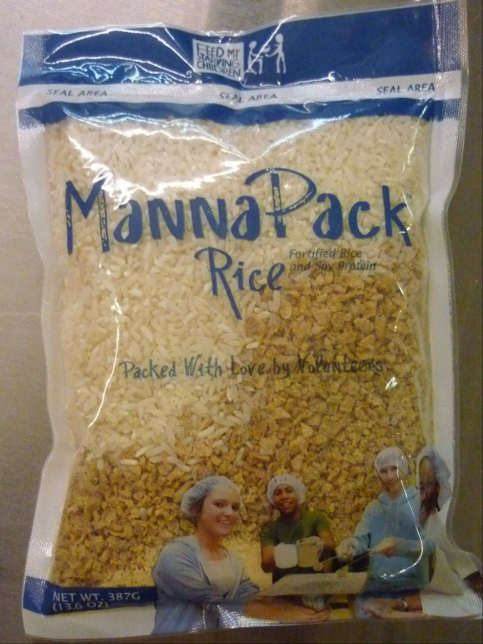One MannaPack Rice package feeds one person for a week or a family of six for one day at a cost of 22 cents a meal.