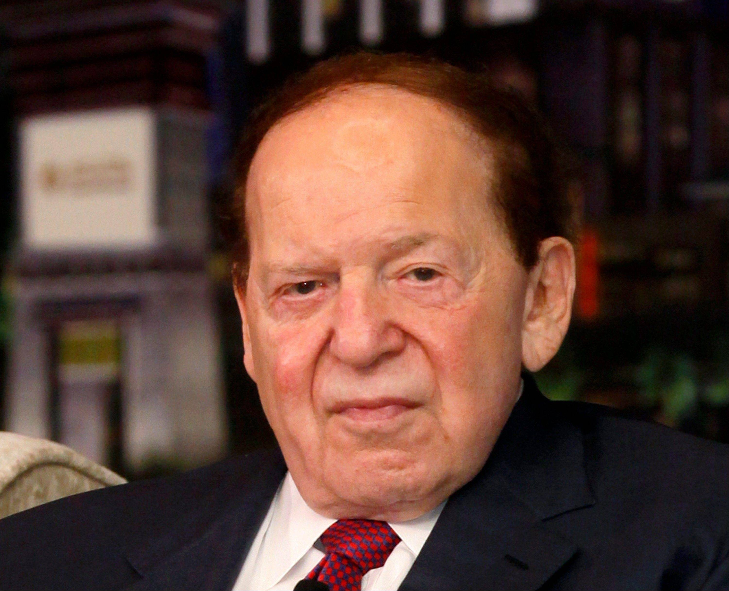 Las Vegas Sands Chairman and CEO Sheldon Adelson and his wife gave $10 million to a �super� political committee supporting losing GOP presidential candidate Mitt Romney. Adelson owns casinos in Las Vegas, Singapore and the Chinese territory of Macau.