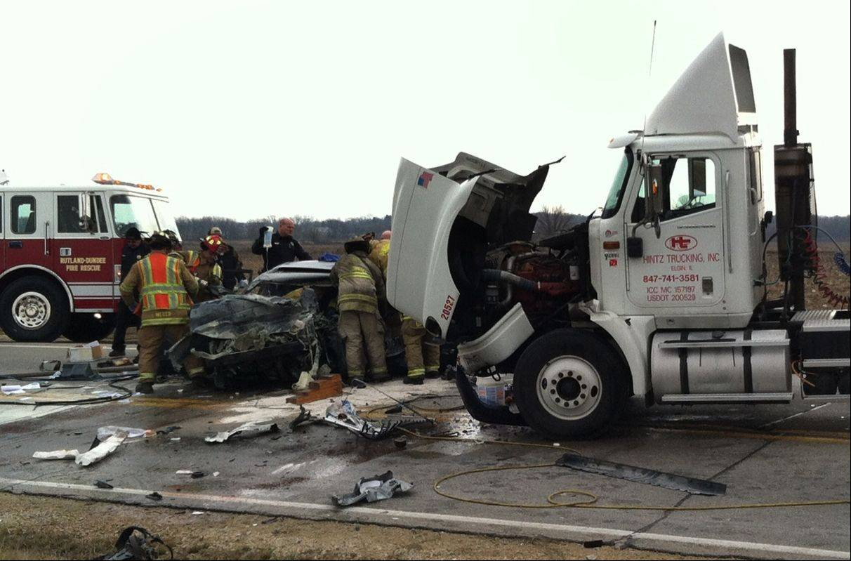 Police and fire department officials were on the scene of an accident involving a car and a semitrailer Thursday morning on Route 72 at Big Timber Road near Gilberts. Police said the man driving the car was transported by helicopter to a hospital in Libertyville.