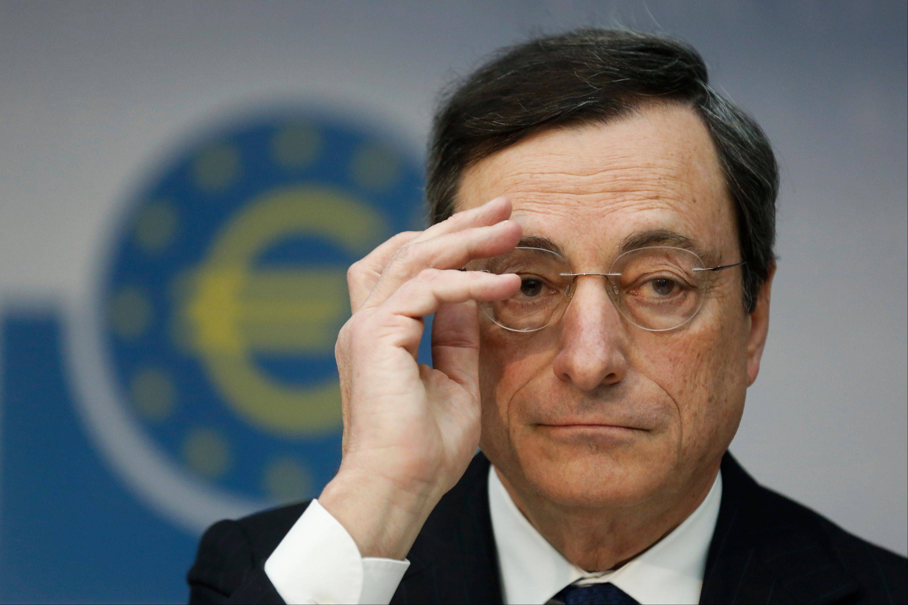 The European Central Bank left rates unchanged at its meeting Thursday, and Mario Draghi gave little sign the bank was willing to add more stimulus. He said the bank had already done much to lower borrowing costs in heavily indebted countries that are struggling to grow.