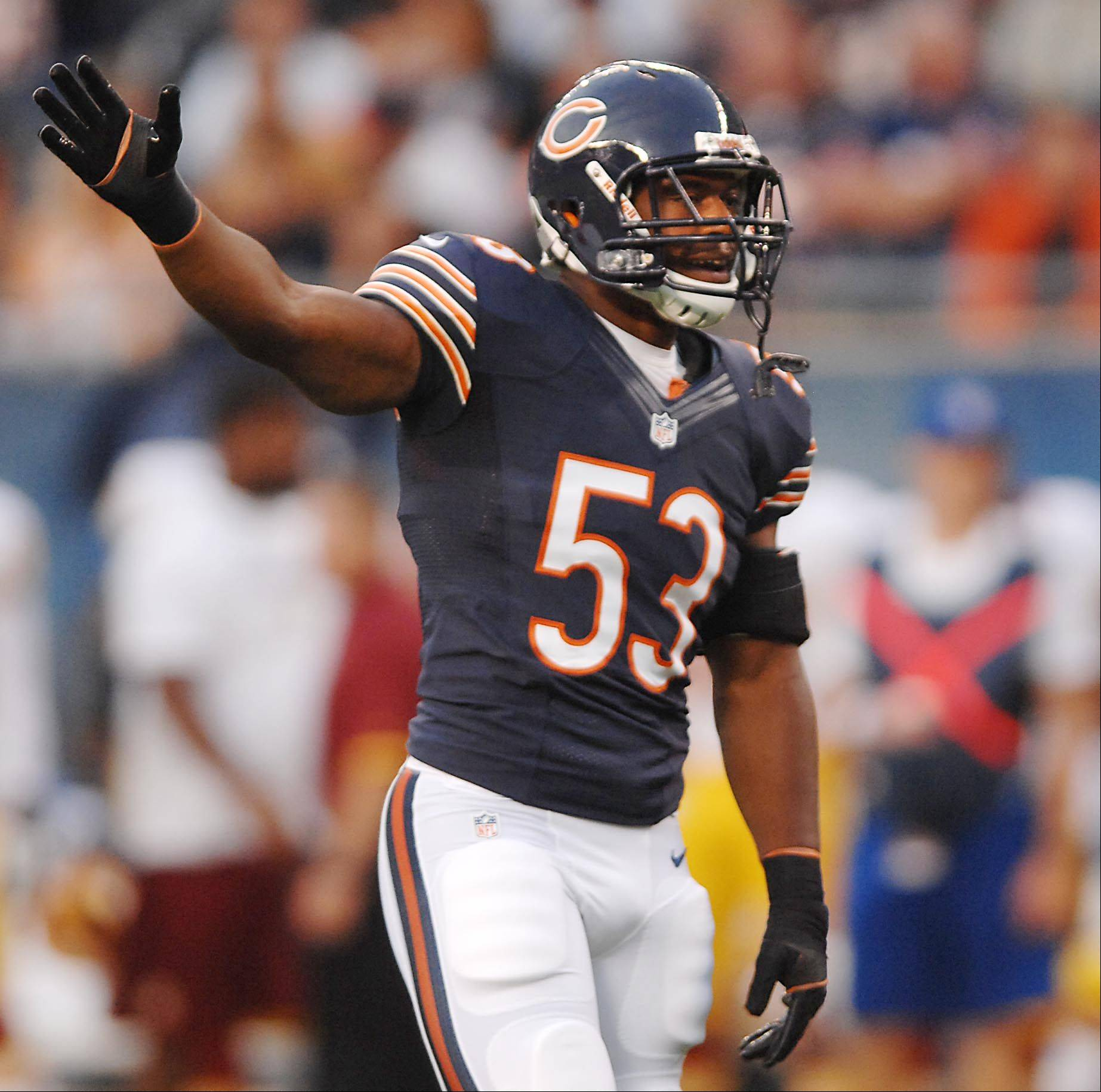 Bears linebacker Nick Roach against the Washington Redskins in the second preseason game at Soldier Field in Chicago.