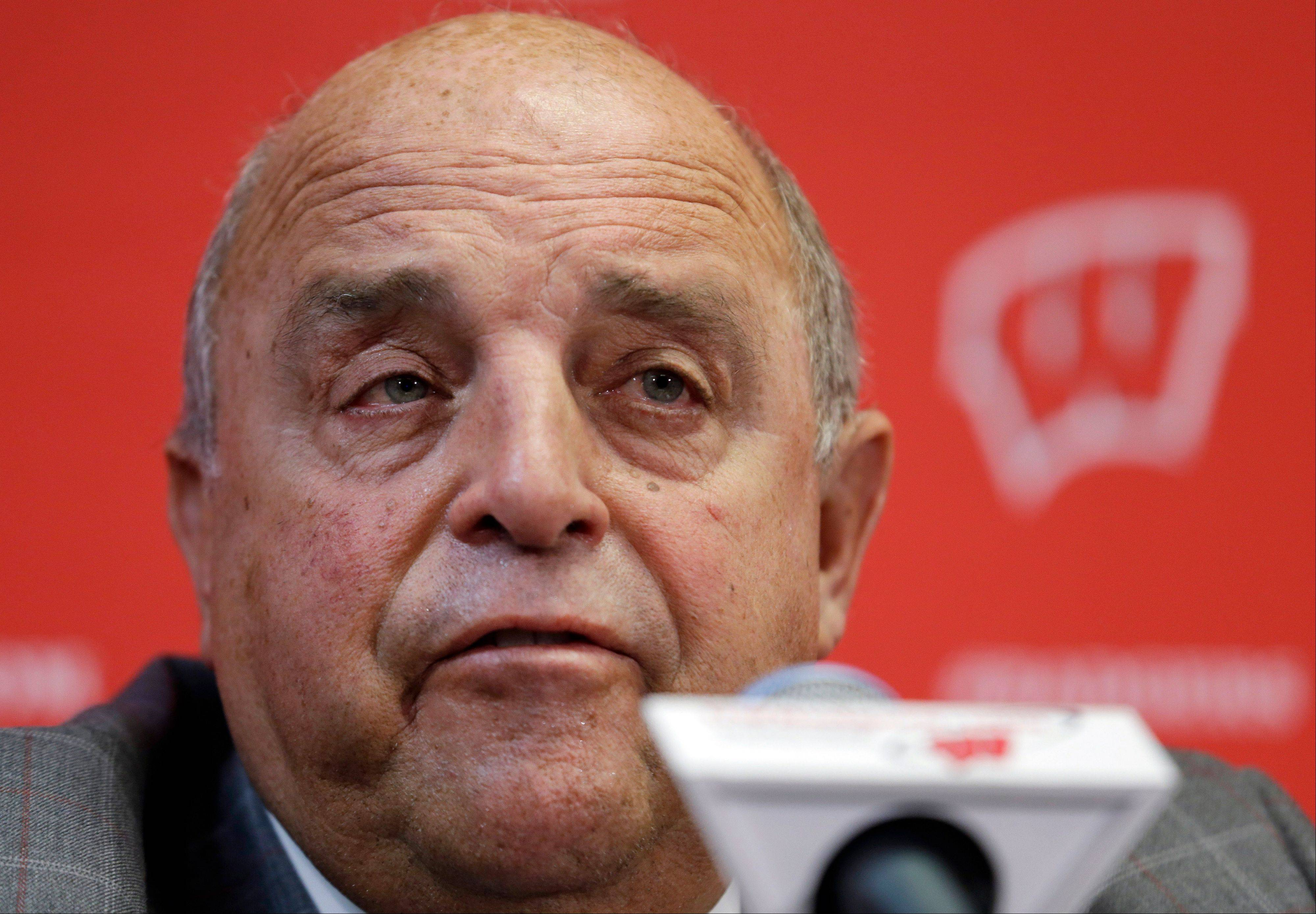 Wisconsin athletic director Barry Alvarez speaks Thursday at a news conference in Madison. Alvarez announced that he will coach the team in this year's Rose Bowl NCAA college football game, replacing former football coach Bret Bielema who took a job as head coach at Arkansas.
