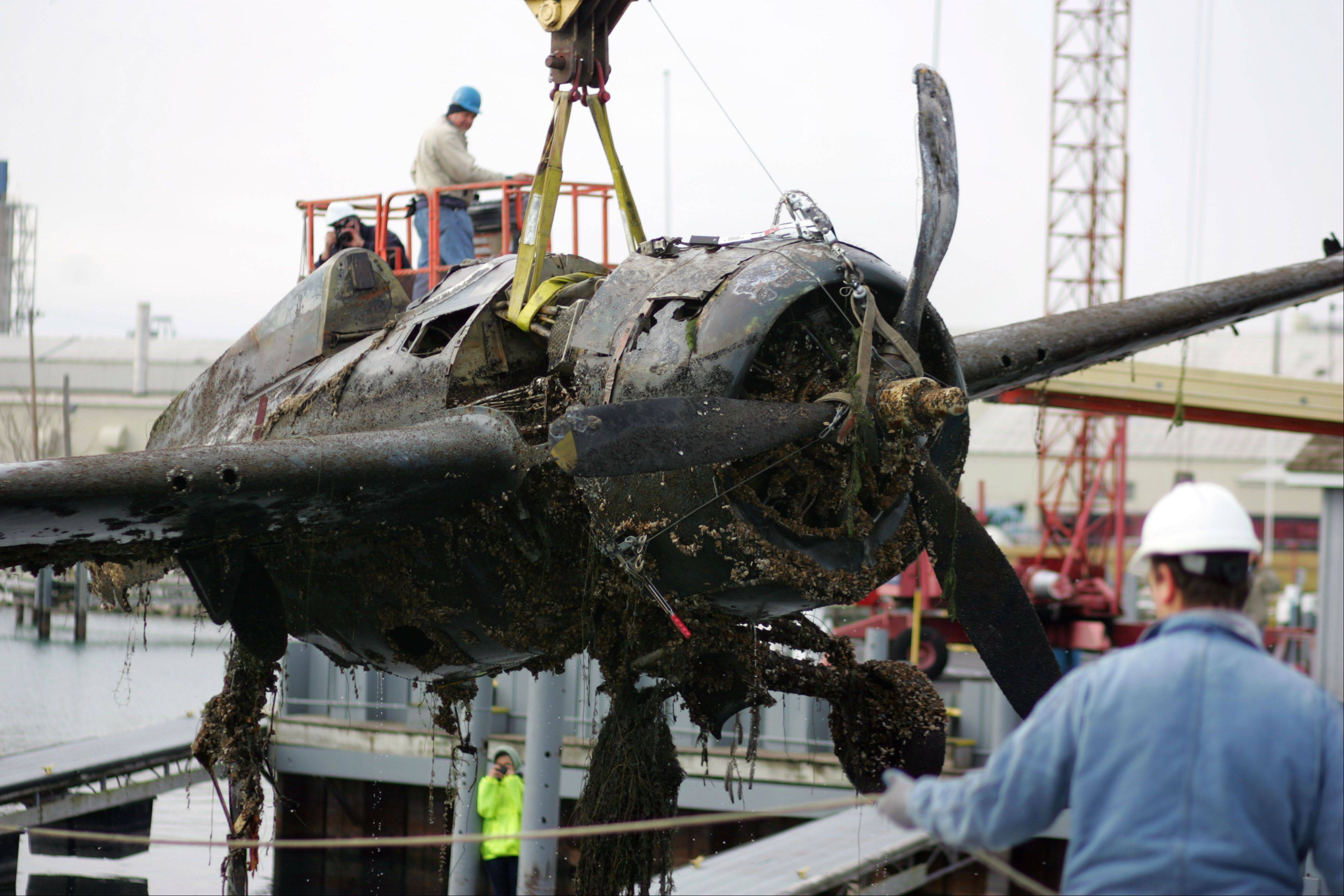 A World War II era FM-2 Wildcat is pulled out of the water at Larsen Marine in Waukegan during a salvage mission Friday.