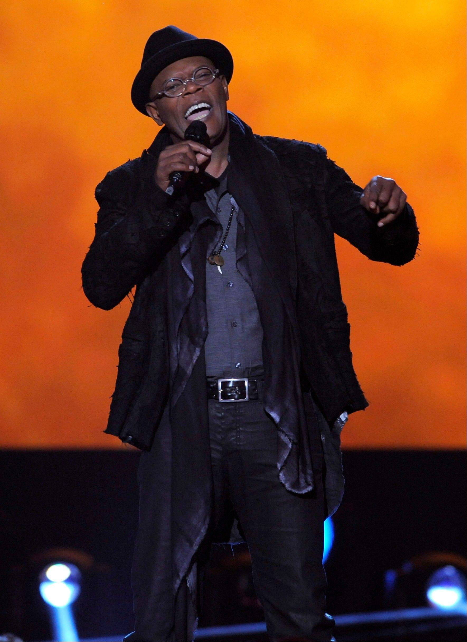 Host Samuel L. Jackson speaks onstage Friday at Spike's 10th Annual Video Game Awards at Sony Studios.