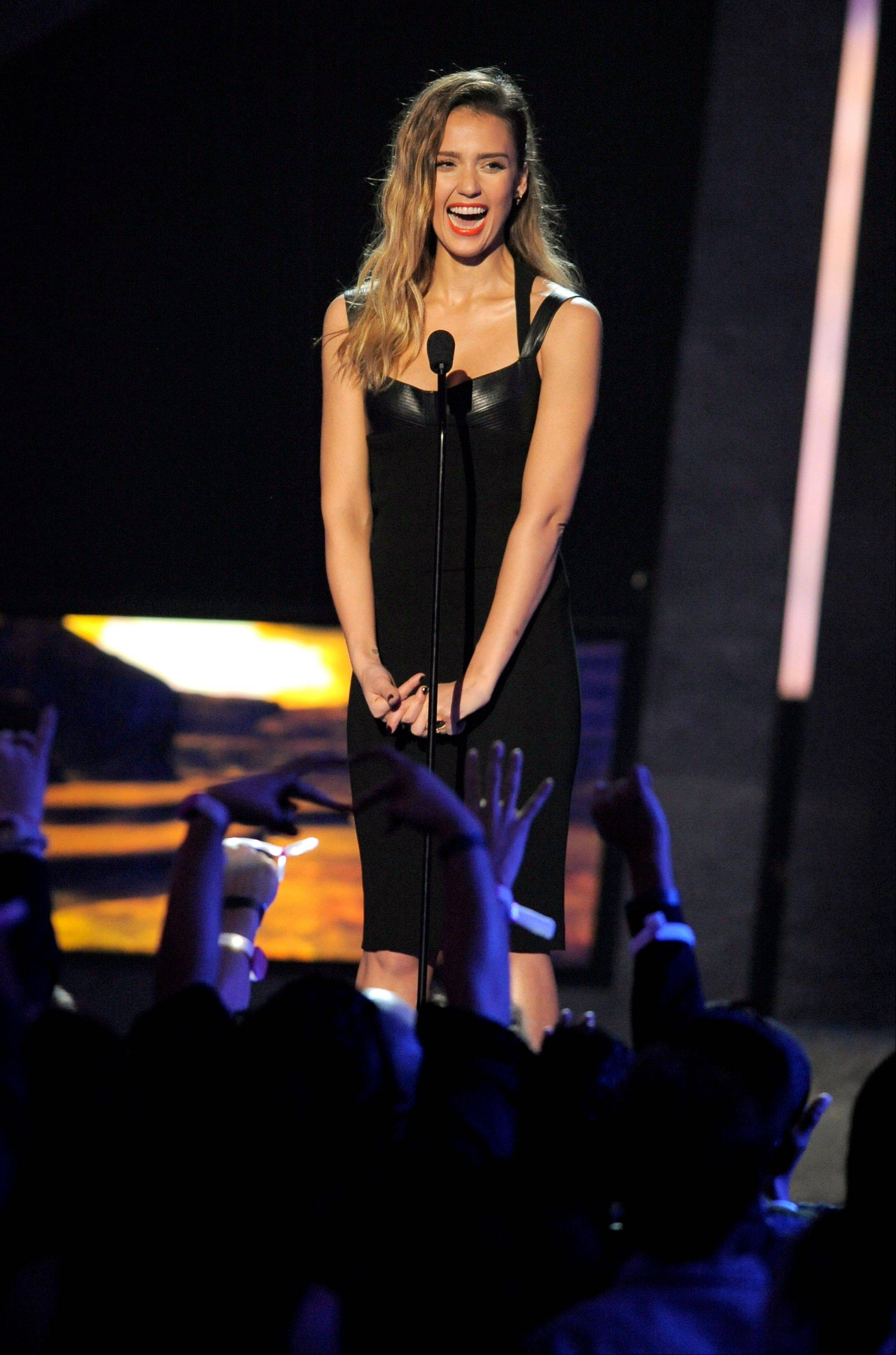 "Jessica Alba introduces the world premiere of ""Warrior"" onstage Friday at Spike's 10th Annual Video Game Awards at Sony Studios."