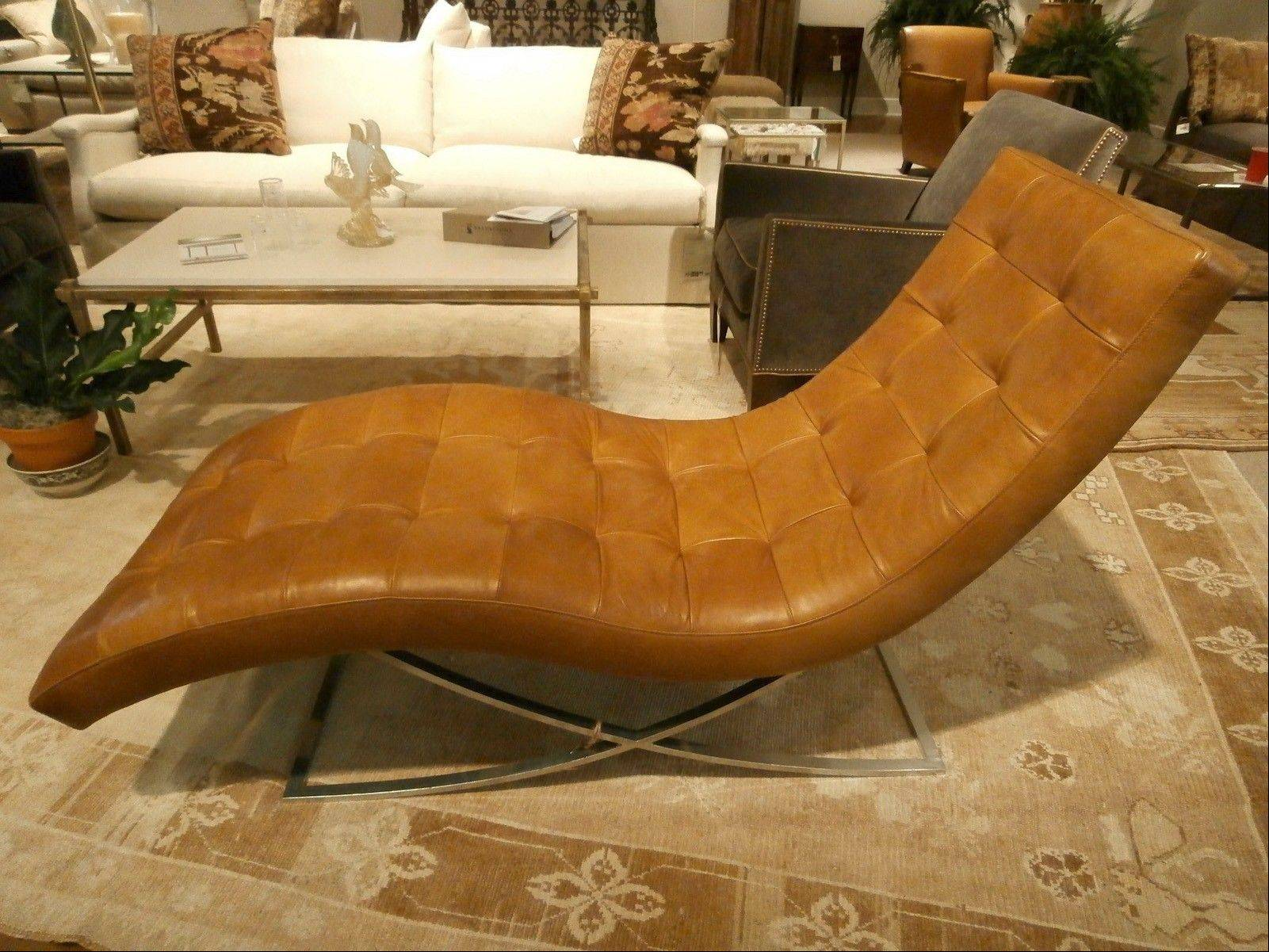 Lee Industries' stainless-steel and leather chaise.