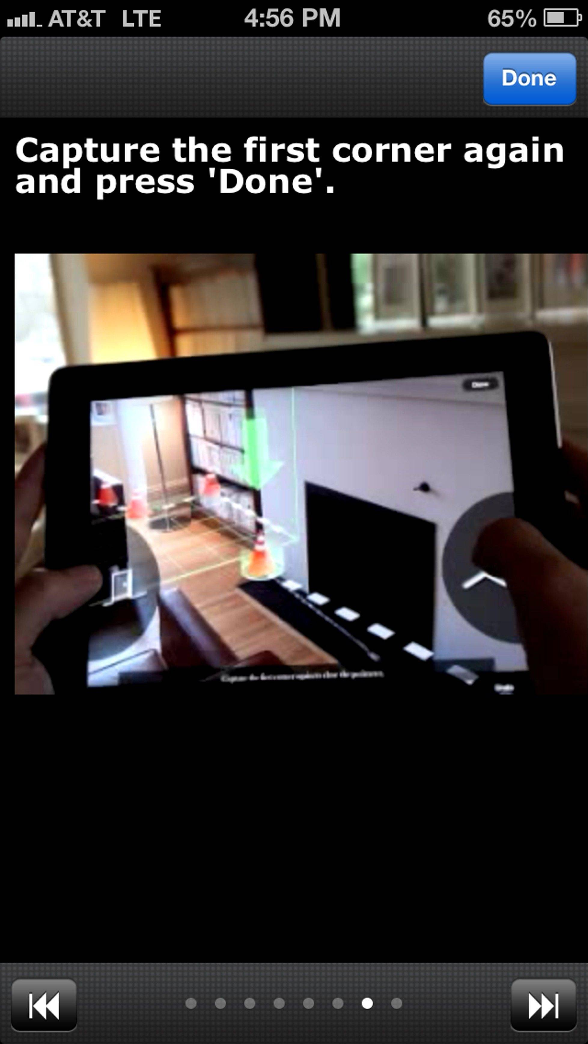 Screenshot of a MagicPlan tutorial demonstrating how the app gets room measurements by using a smartphone's camera function.