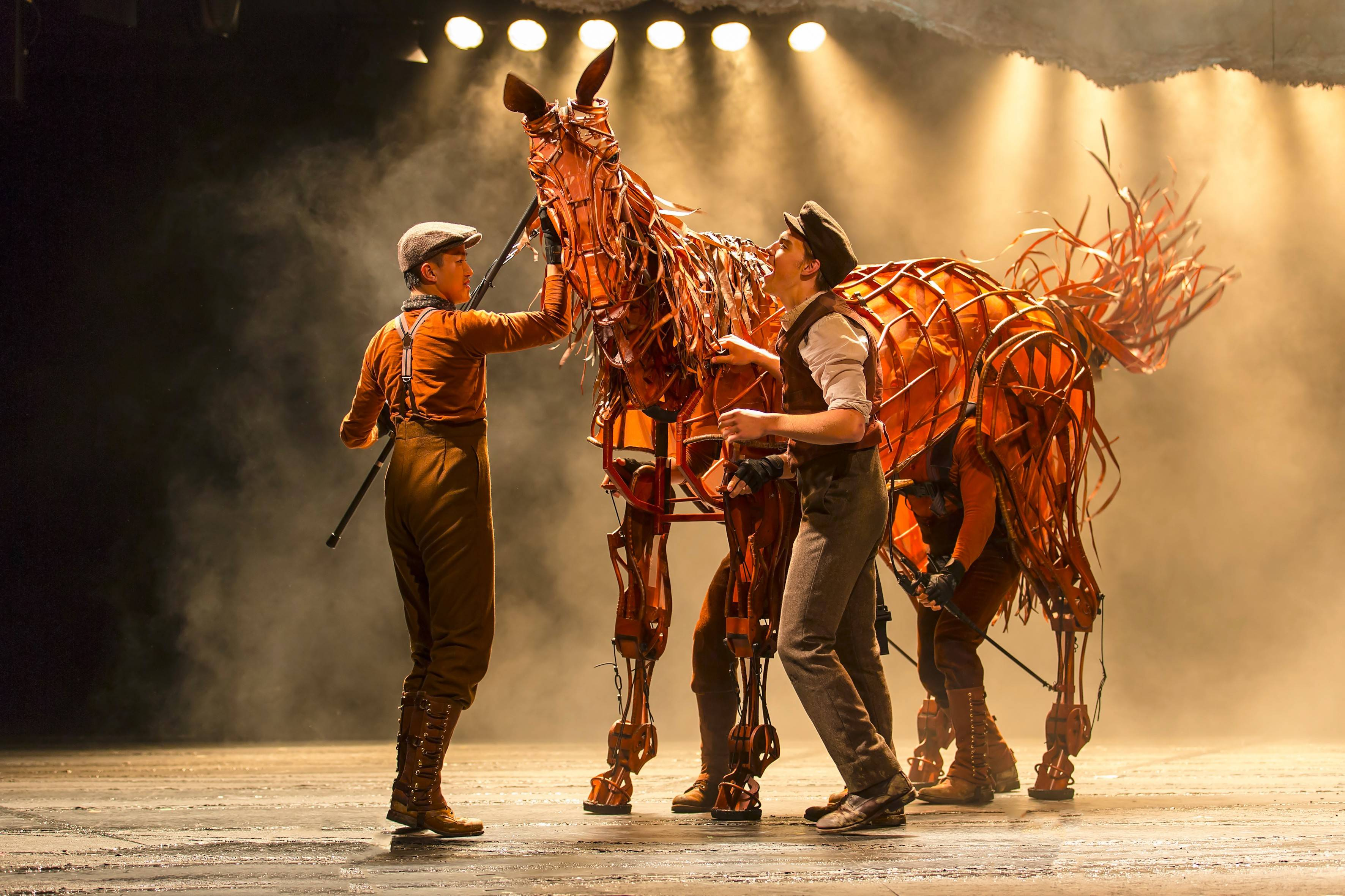 "Albert (Andrew Veenstra) spends time training his family's horse, Joey (manipulated by Christopher Mai, Derek Stratton and Rob Laqui), in the North American tour of ""War Horse,"" playing Chicago's Cadillac Palace Theatre from Tuesday, Dec. 18, through Saturday, Jan. 5."