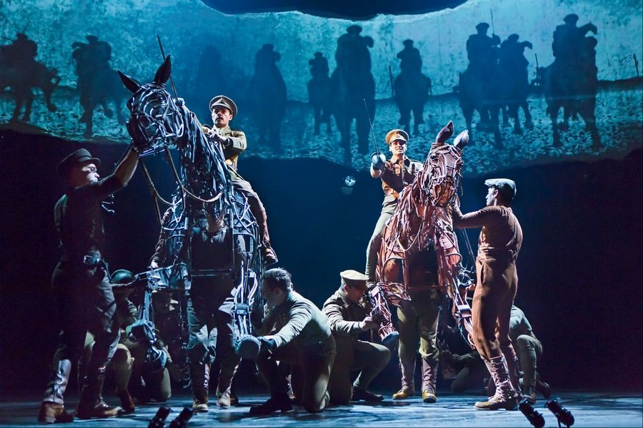 "Actors Grayson DeJesus (riding black horse Tophorn) and Michael Wyatt Cox (riding the horse Joey) appear in the British calvary attack scene in the North American tour of ""War Horse,"" which comes to Chicago's Cadillac Palace Theatre from Tuesday, Dec. 18, through Saturday, Jan. 5."
