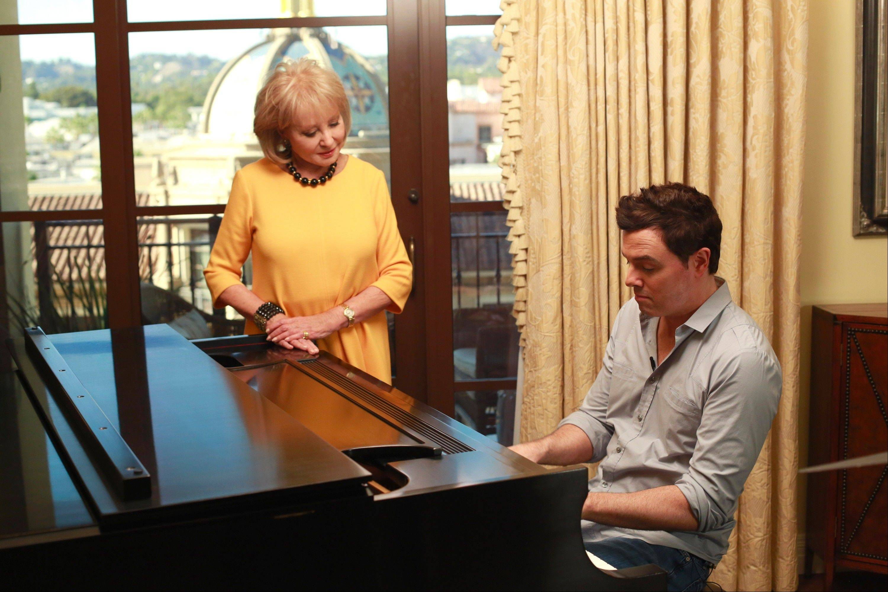 "Seth MacFarlane plays piana for Barbara Walters during ABC's ""Barbara Walters Presents: The 10 Most Fascinating People of 2012."" MacFarlane made the list along with filmmaker Ben Affleck, New Jersey Gov. Chris Christie and others."