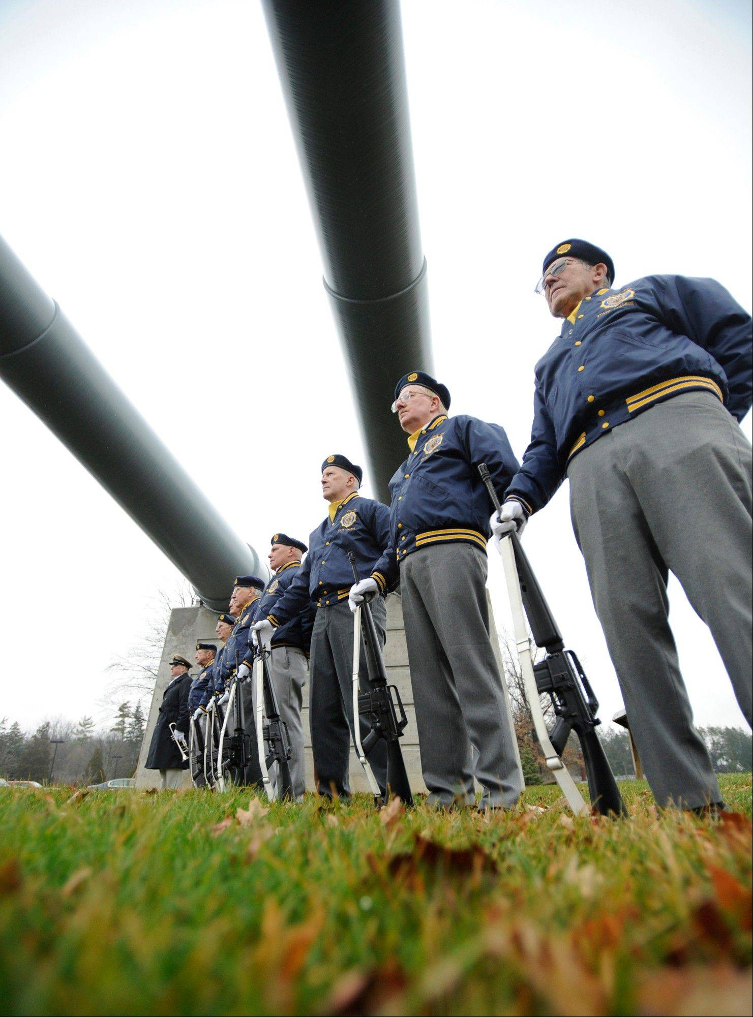 The State College American Legion Post 245 honor guard stands at attention during a Pearl Harbor Remembrance Day and ceremony at the Pennsylvania Military Museum, in Boalsburg, Pa., Friday, Dec. 7, 2012 is