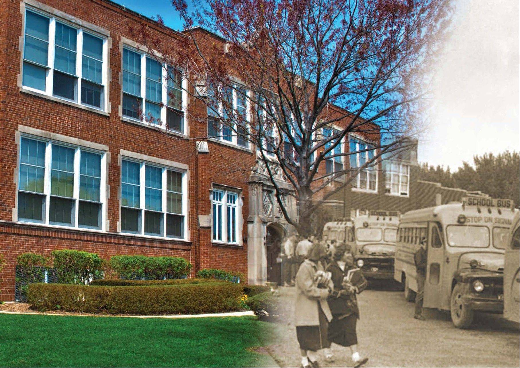 The September photo montage on the quasquicentennial calendar -- students leaving Arlington High School in 1949.