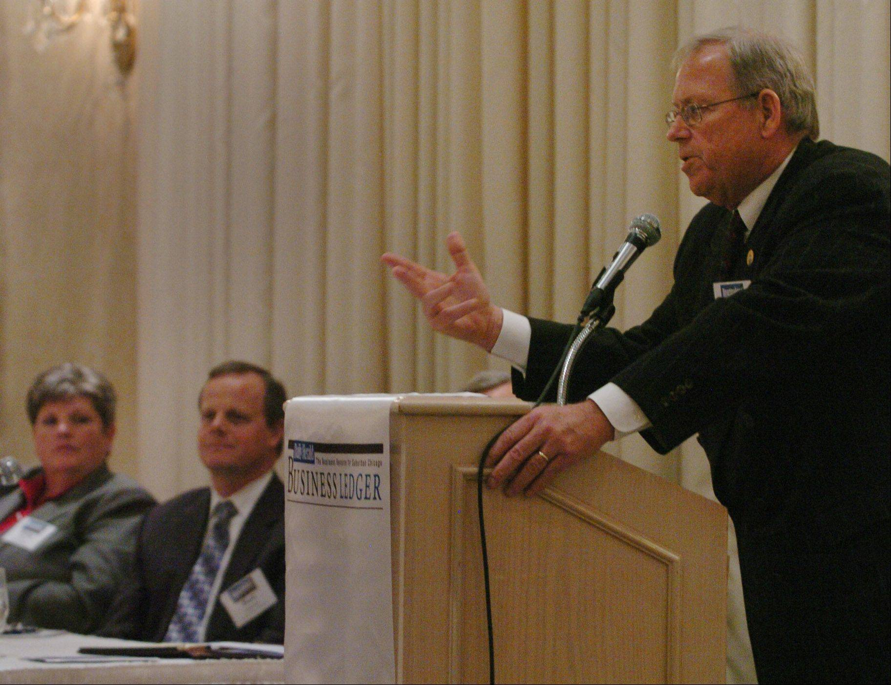 Douglas Whitley, president and CEO of the Illinois Chamber of Commerce, speaking at the Newsmakers Forum Business Outlook 2013 in Rolling Meadows, was one of the more optimistic experts about economic growth in 2013, although not necessarily speedy growth.