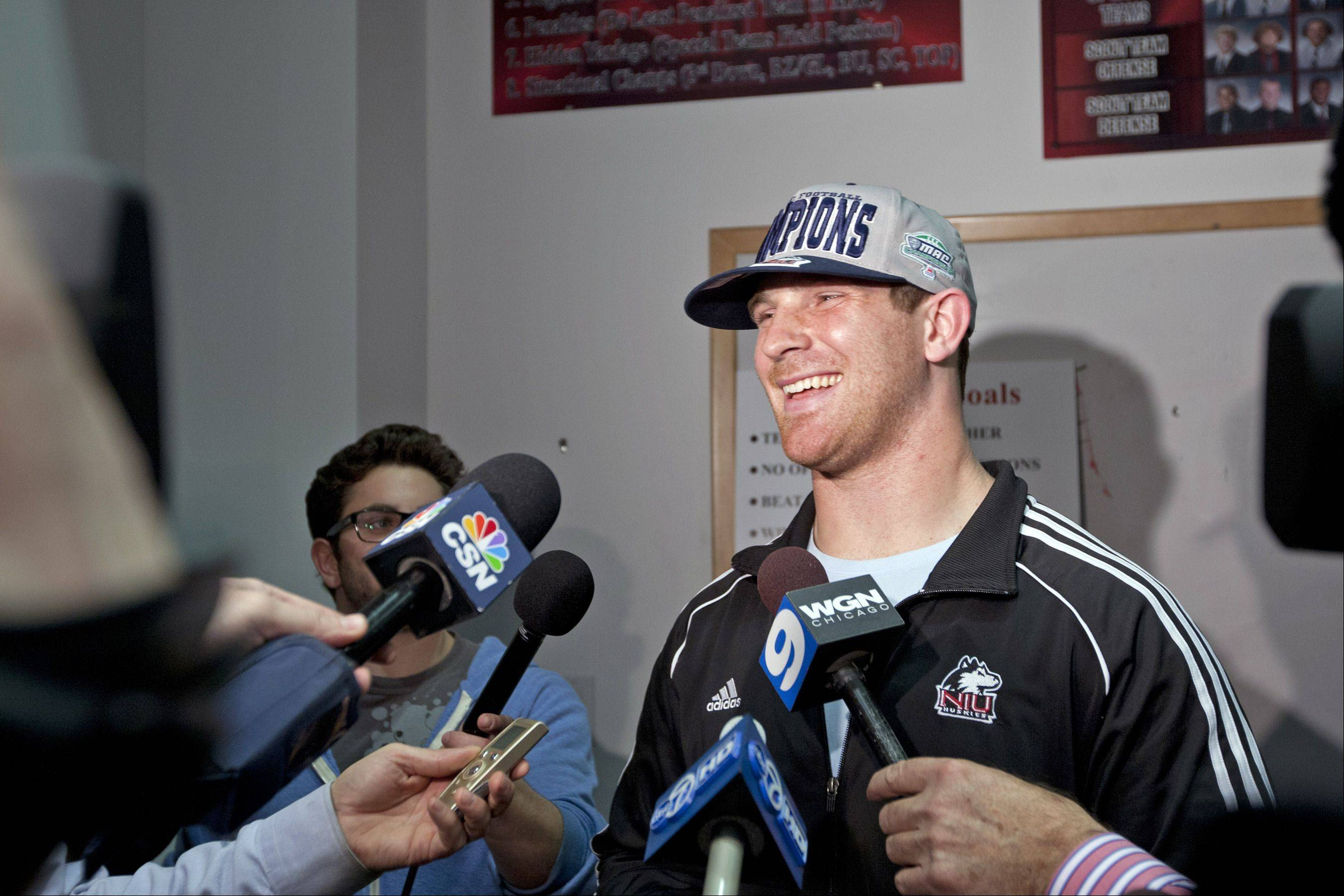 Jordan Lynch reacts on Sunday night during a press conference in DeKalb as the NIU Huskies learned of their Orange Bowl berth.
