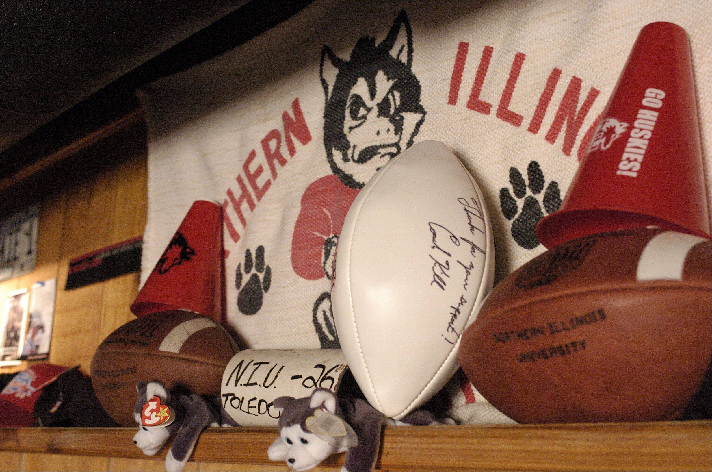 Northern Illinois University items are prominent in the basement of Dave LaCerra's Mount Prospect home.