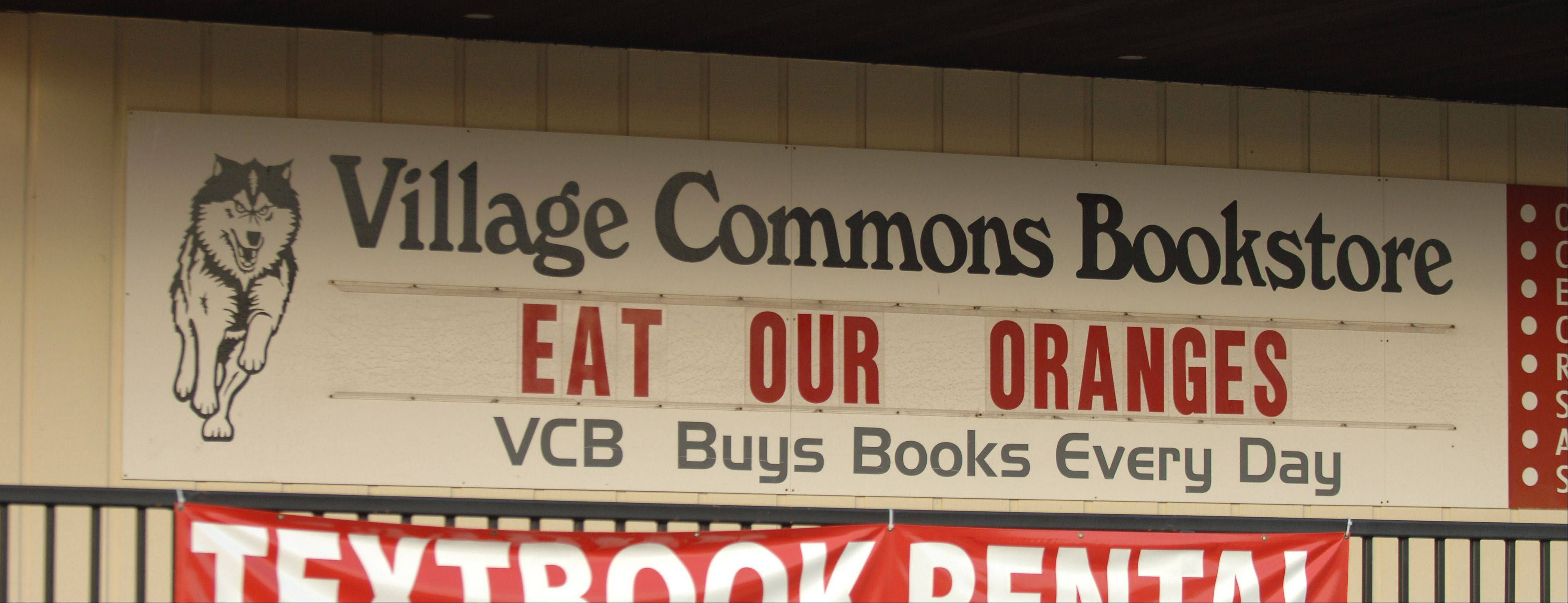 The Village Commons Bookstore sign says it all. NIU will be competing in the Orange Bowl.