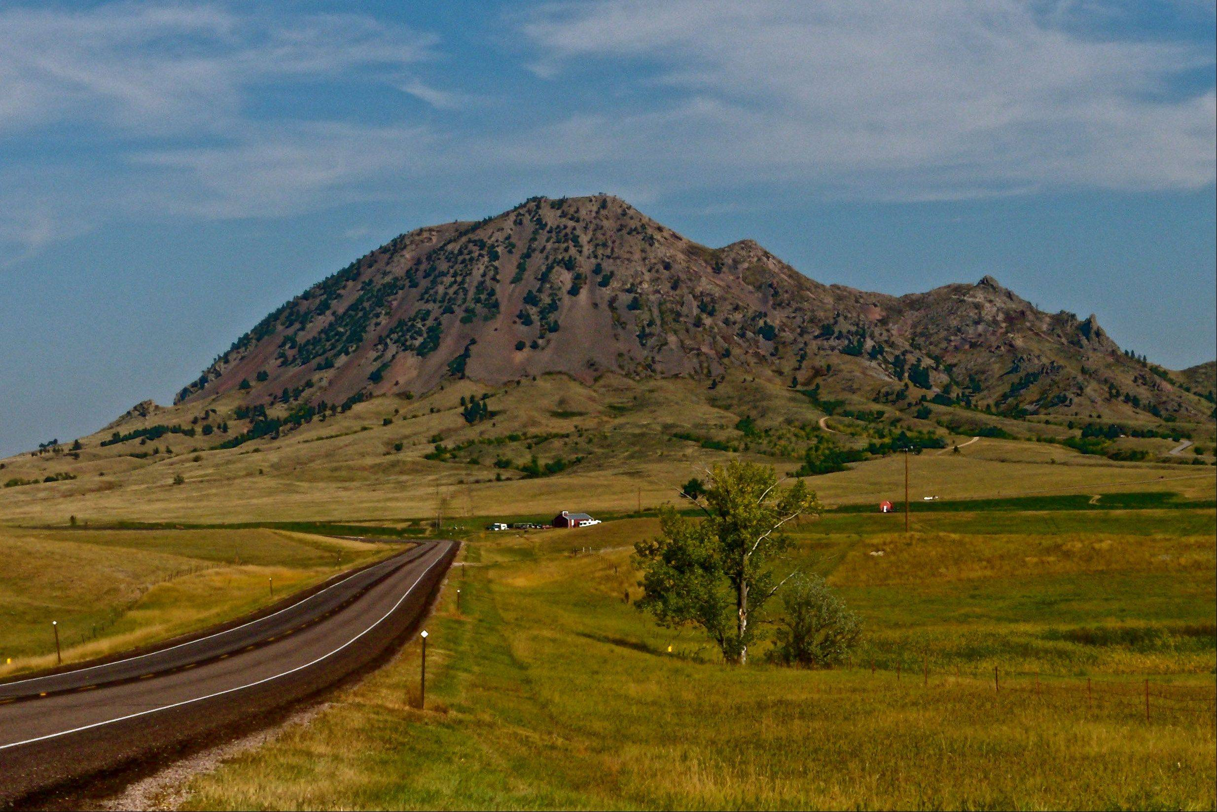 This is a picture of Bear Butte which is about ten miles from Sturgis, SD. This is sacred ground to several Native American tribes. Prayer flags can be found all along the trails that we used to get to the top.