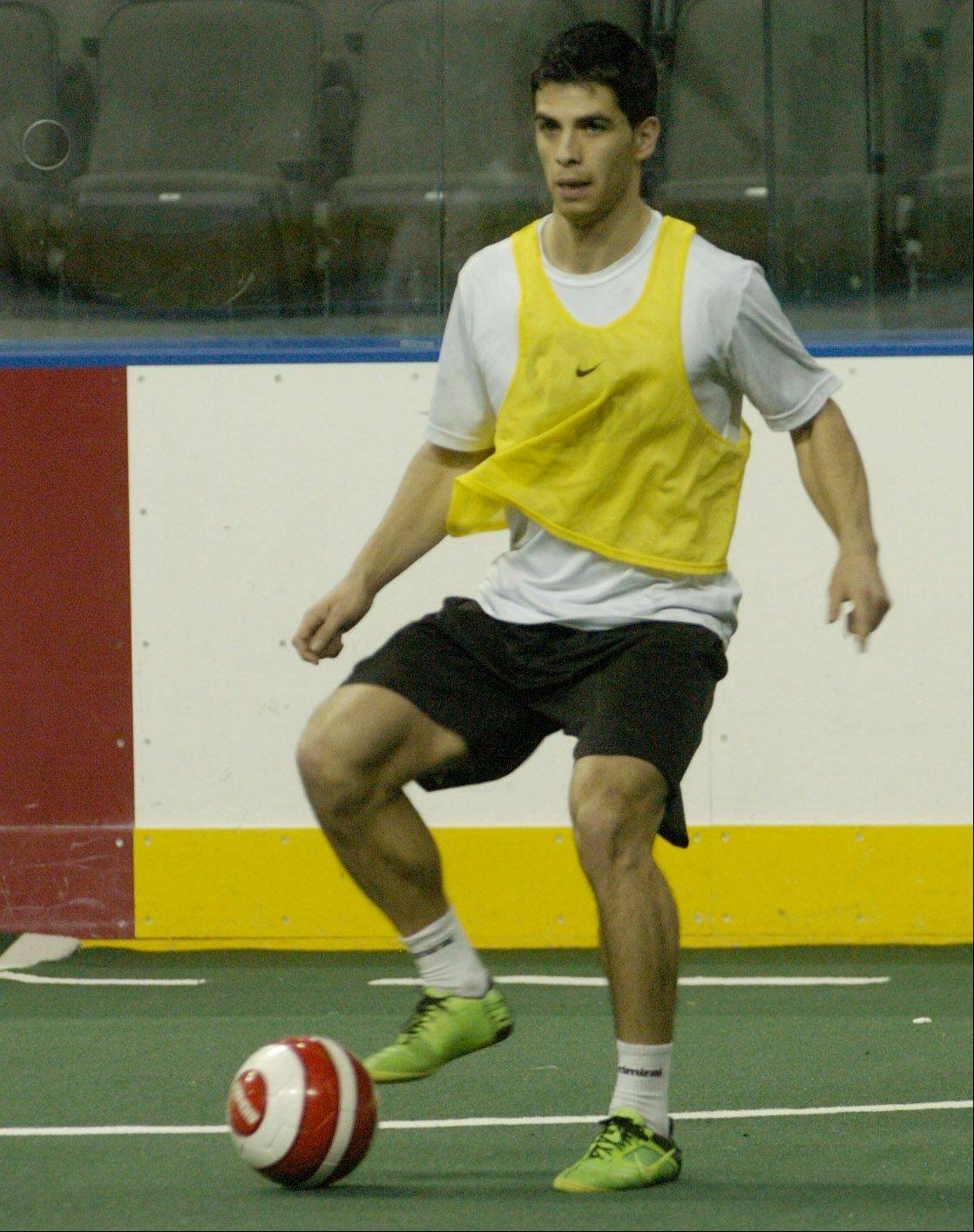 Christian Meza of Carpentersville works out with the Chicago Soul indoor soccer team at the Sears Centre.