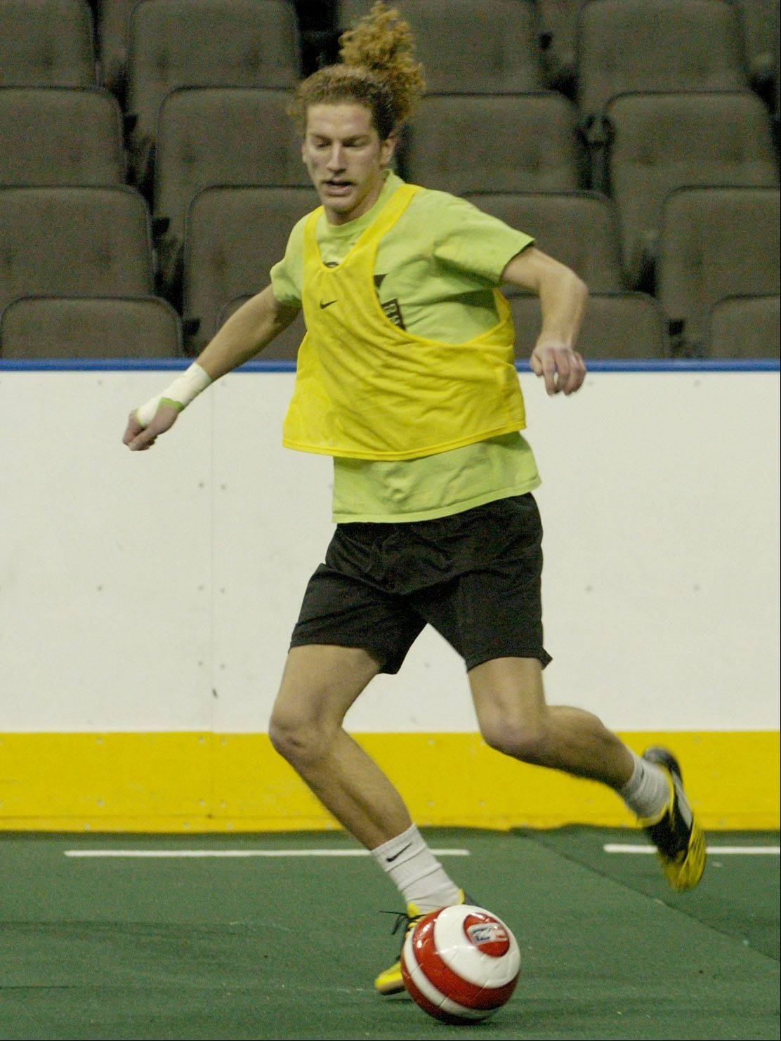 Ephraim Beard of Schaumburg works out during a practice with the Chicago Soul indoor soccer team at the Sears Centre.