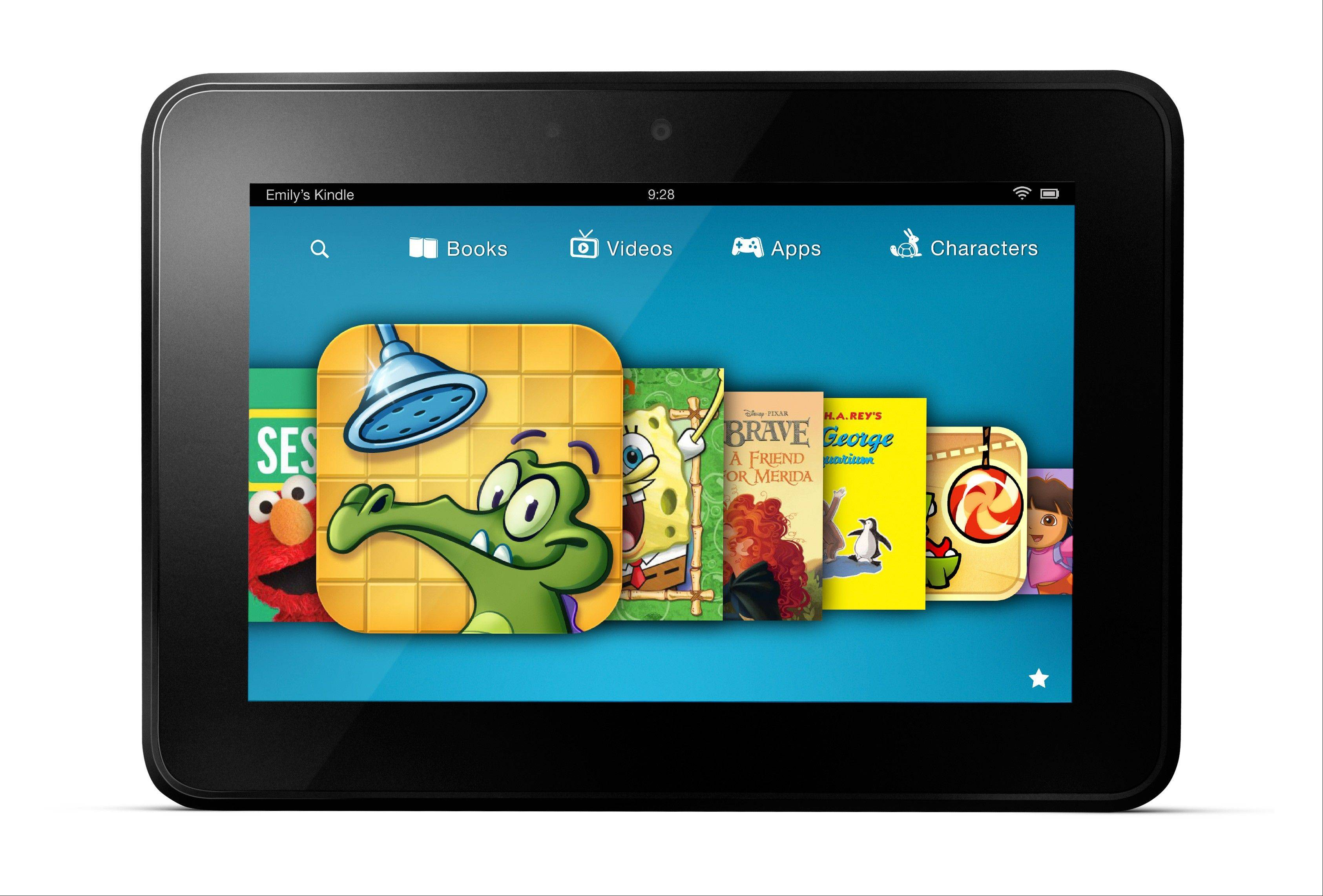 This image provided by Amazon shows a new subscription service for children�s games, videos and books aimed at getting more kids to use its Kindle Fire tablet devices. Amazon.com Inc. announced that the Kindle FreeTime Unlimited service will be available in the next few weeks as part of an automatic software update.