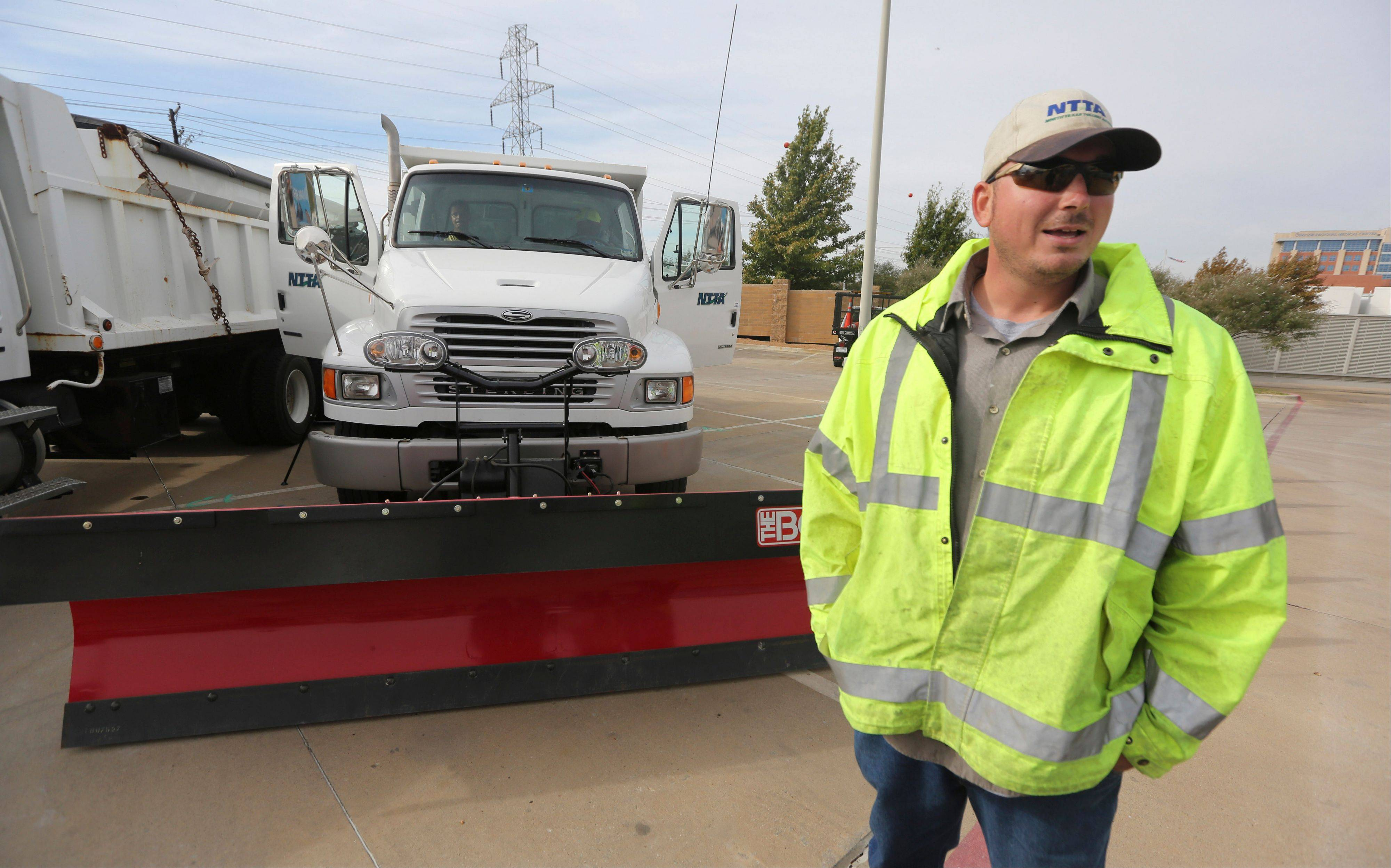 Driver Travis Roebuck talks about driving a snowplow for the North Texas Tollway Authority in Plano, Texas.