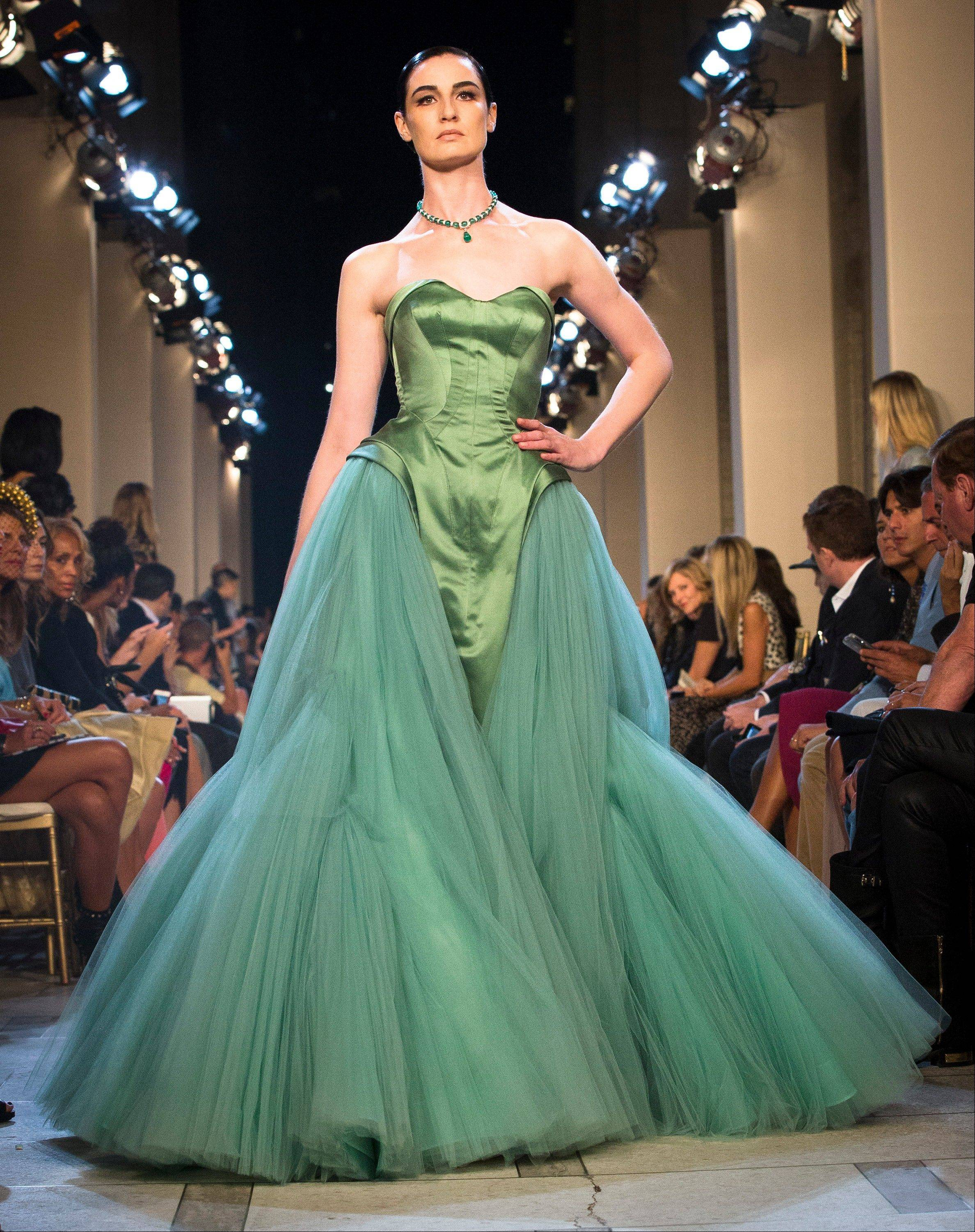 A dress from the Zac Posen spring 2013 is showcased during Fashion Week in New York.