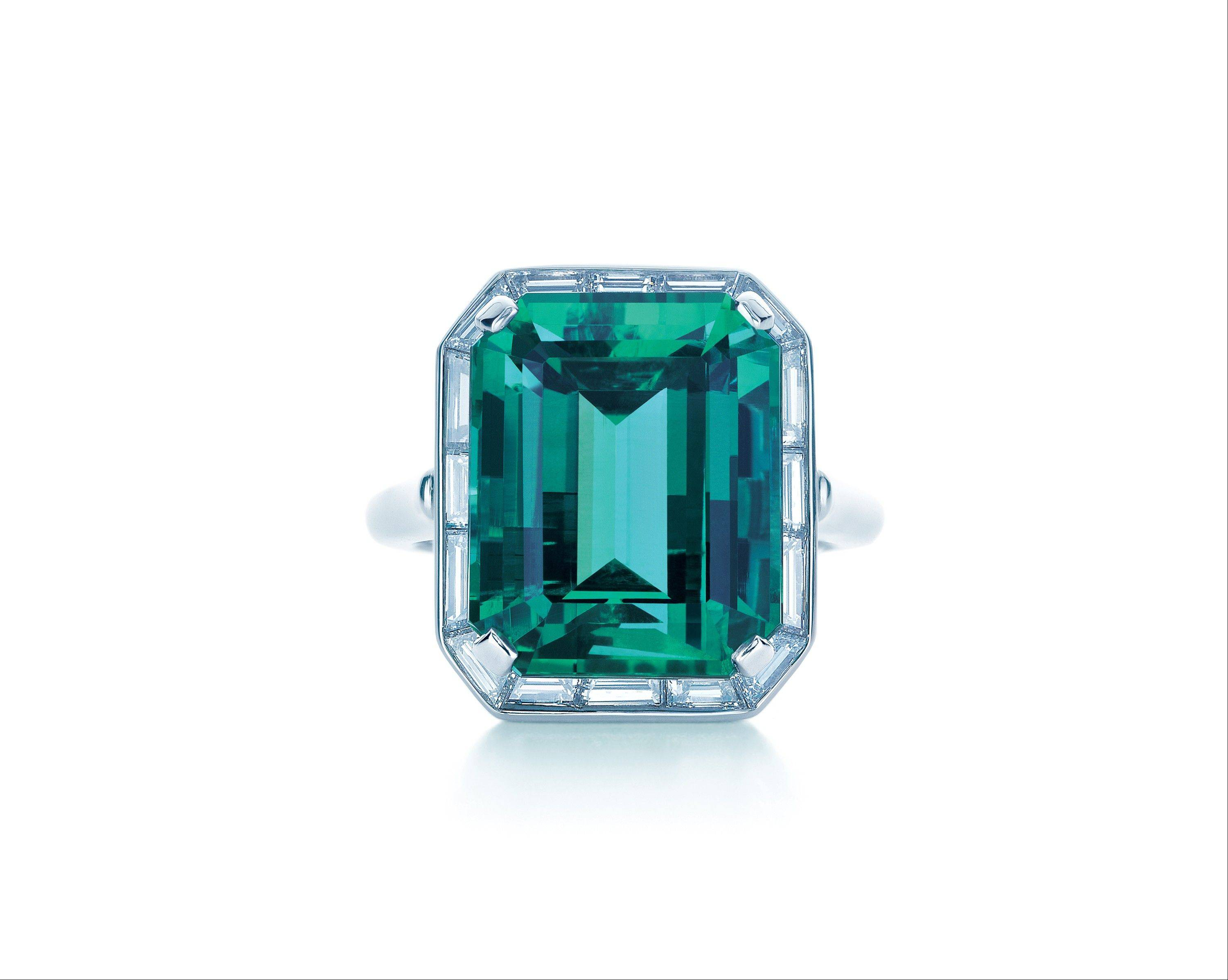 Even jewelry, like this Tiffany emerald and diamond ring, features the color of the year.