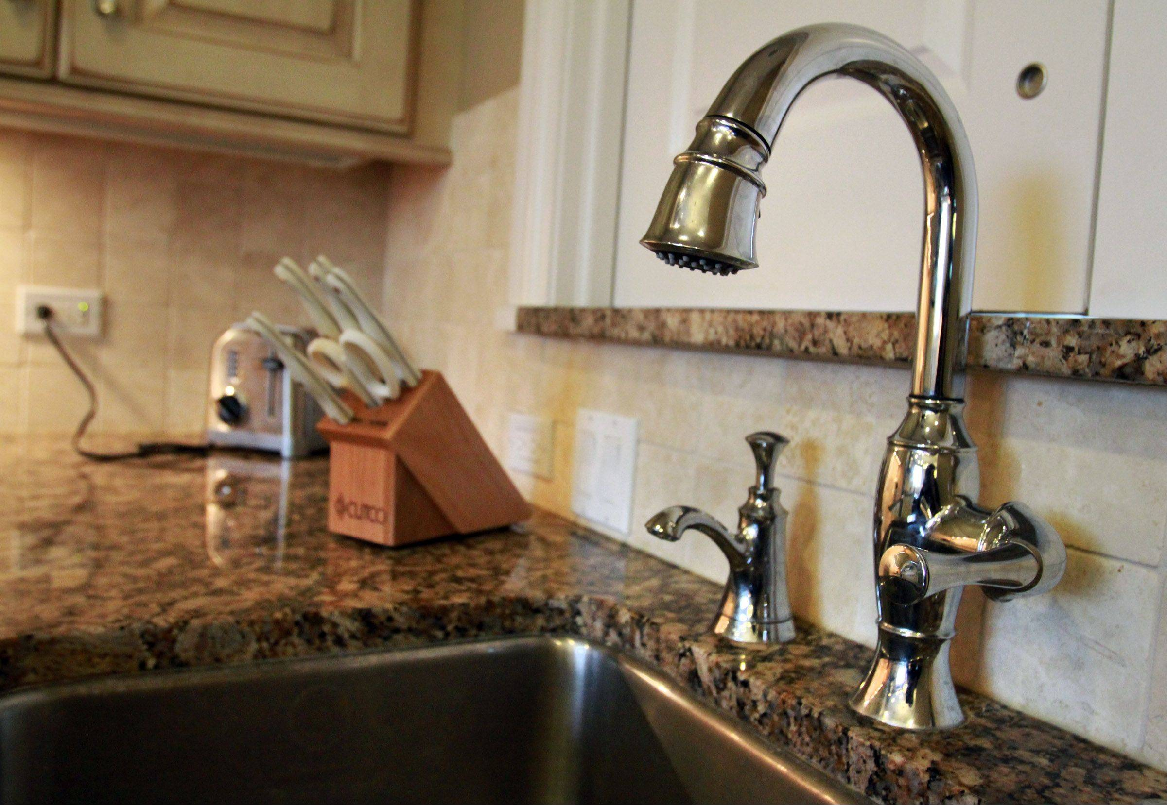 Sinks on opposite sides of the kitchen help the Fretzin family maintain a kosher kitchen.