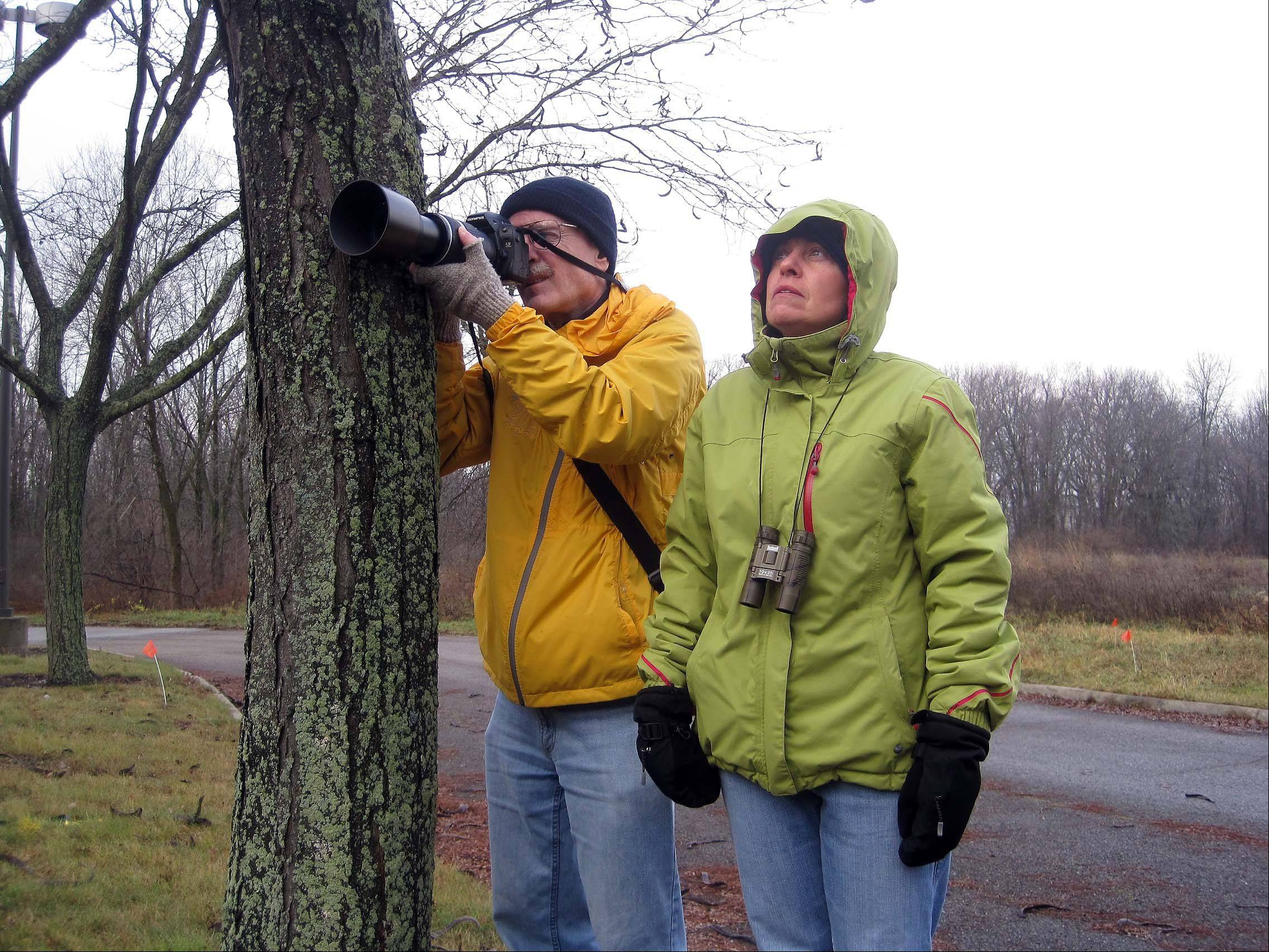 "Elena Ferrarin/eferrarin@dailyherald.comAlan Robertson and Patricia Leonard of St. Charles scour for birds on Saturday morning during the ""Woodpeckers in Winter� nature program at Fermilab in Batavia. The program is part of the ""Learn from the Experts� classes offered by the Kane County Forest Preserve District, and St. Charles and Geneva park districts."