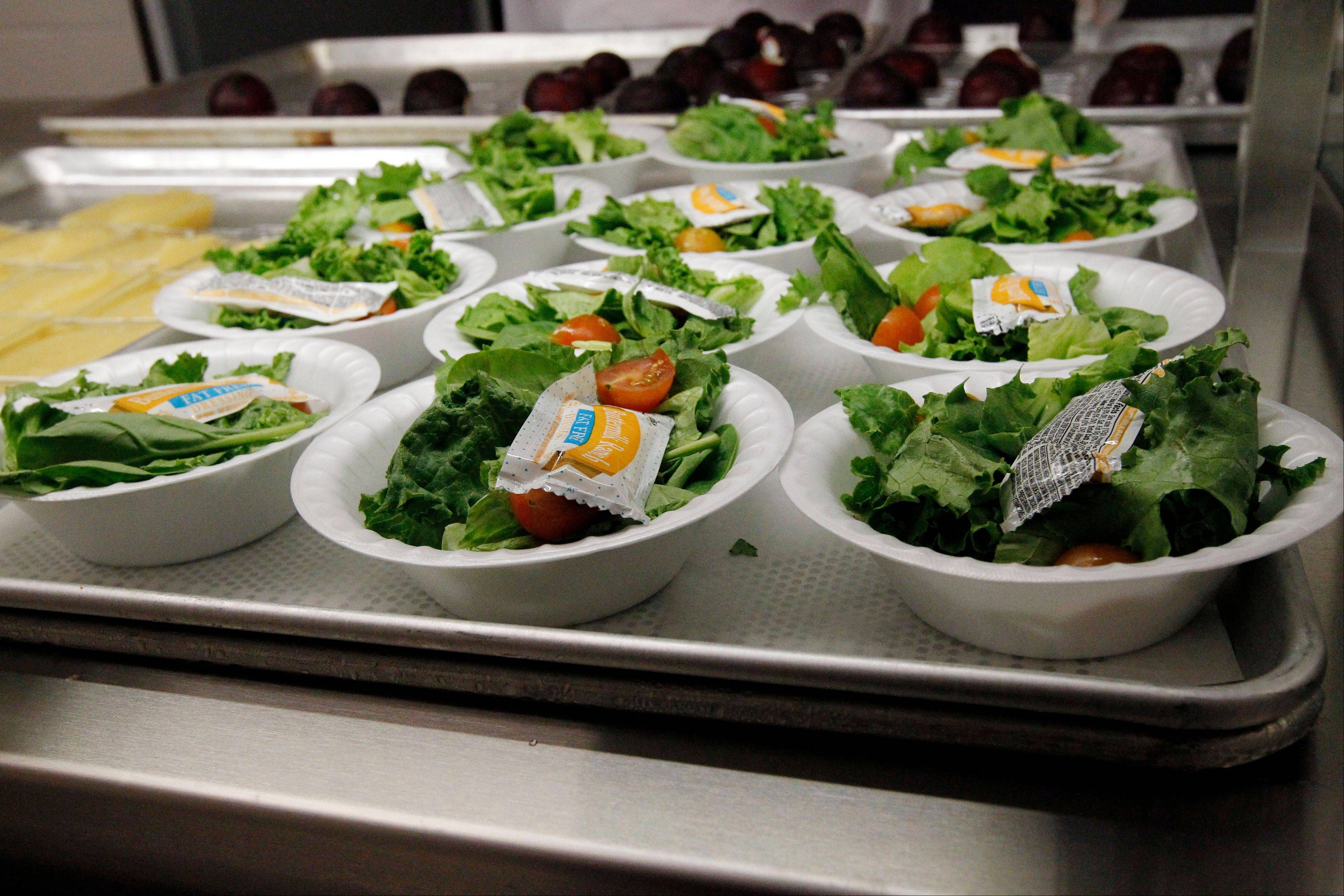 Side salads await the students of Eastside Elementary School in Clinton, Miss.
