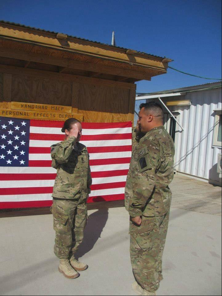 Capt. Becky Moschel during her promotion ceremony to captain in Afghanistan this month.