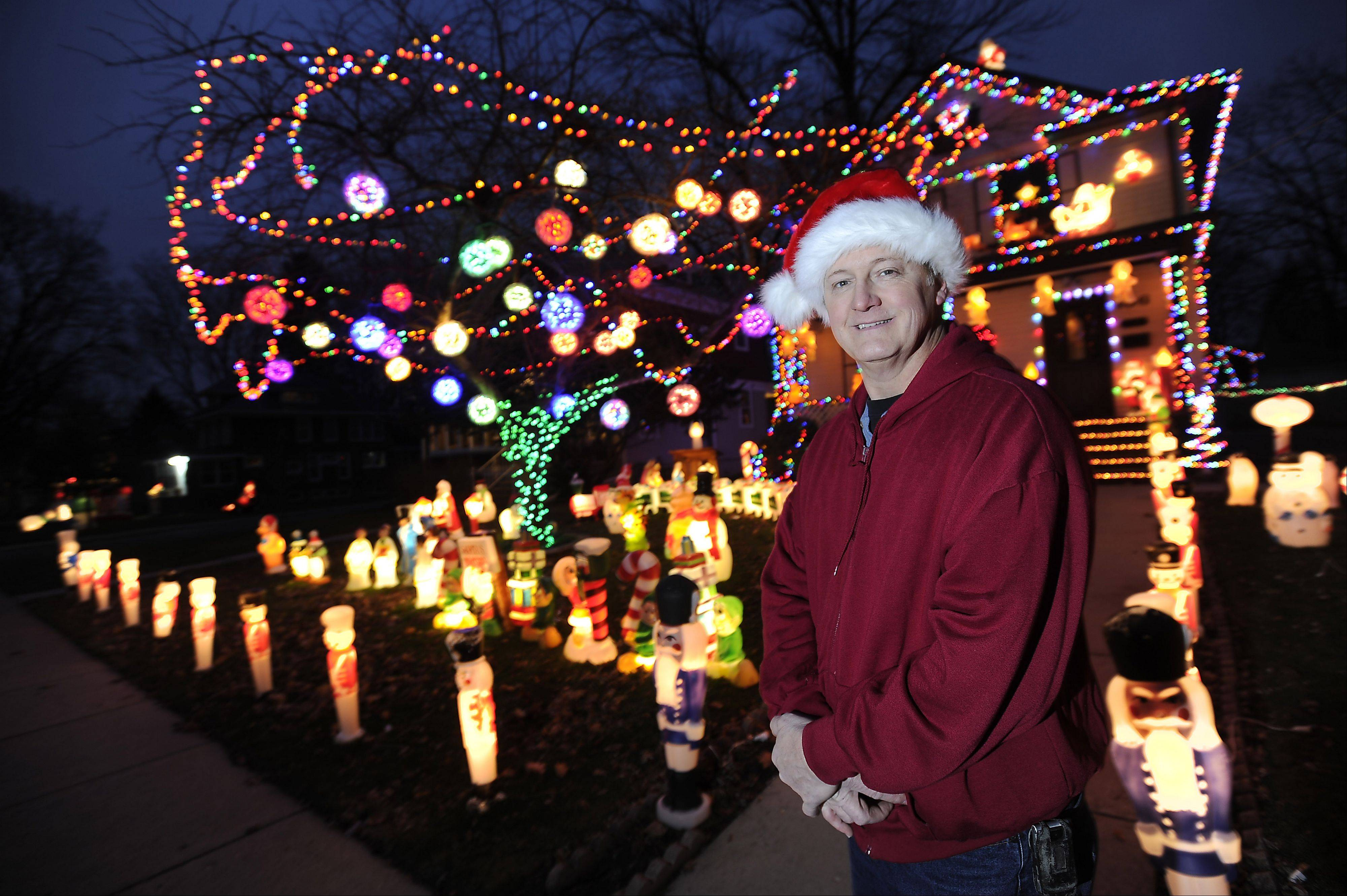 Michael Arnold won the 2011 Daily Herald holiday lights contest for his display at 106 Monroe St. in Elgin.