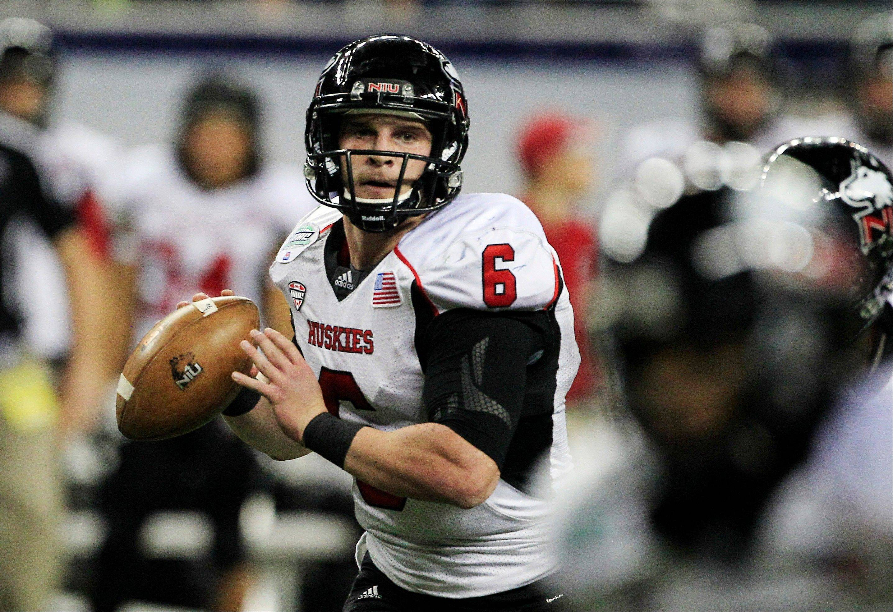 In this Nov. 30 file photo, Northern Illinois quarterback Jordan Lynch (6) looks to pass during the second quarter of the Mid-American Conference championship NCAA college football game against Kent State in Detroit.