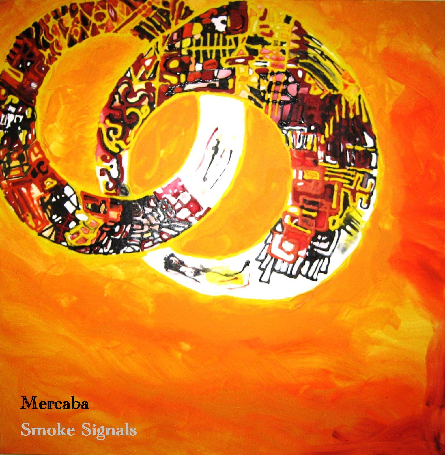 This is is one of Licha DeLaPe�a's paintings on Mercaba jazz quartet's CD