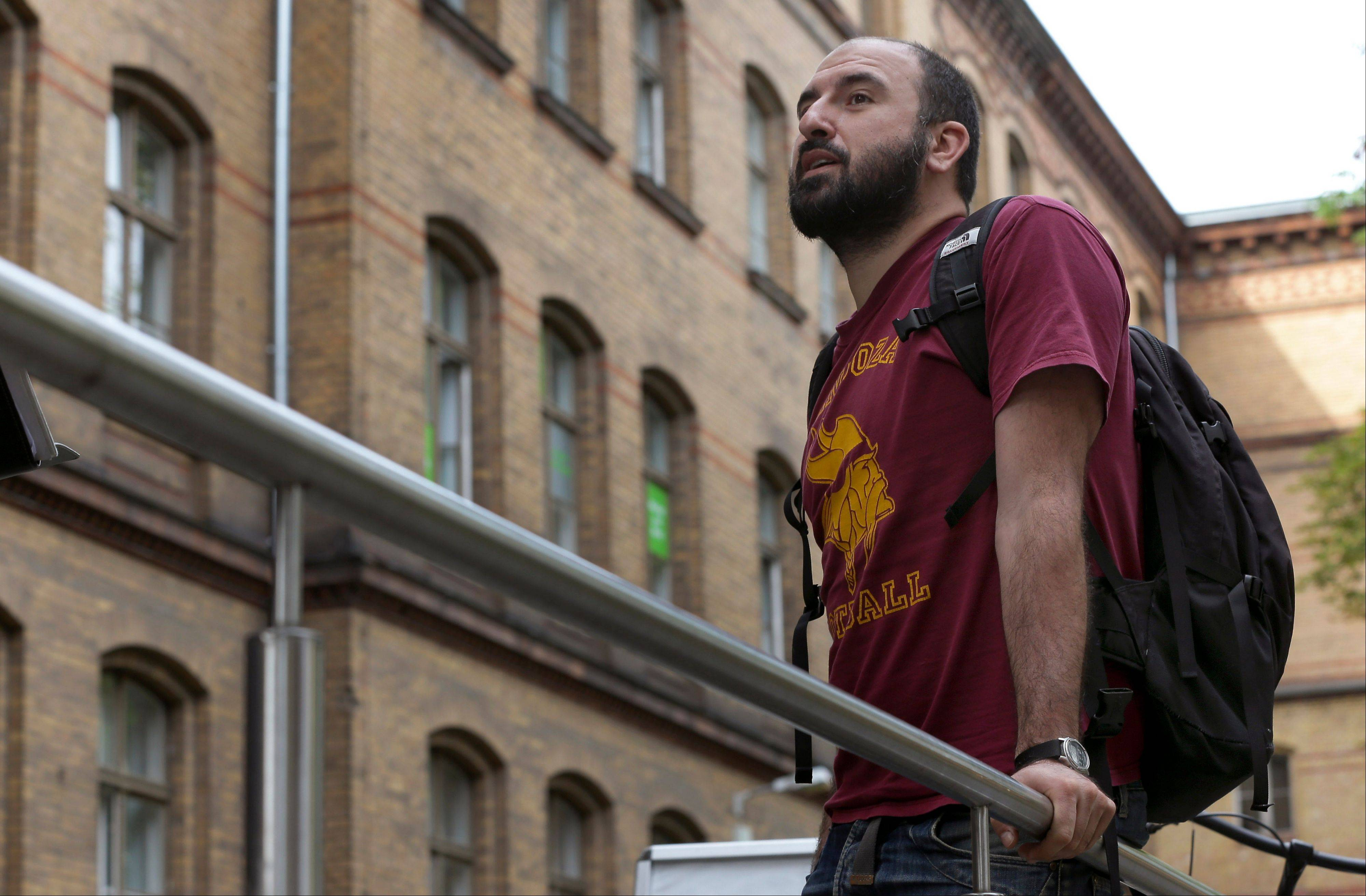 Ricardo de Campano of Spain waits prior to an interview with The Associated Press at the Pankow public language school for foreign students in Berlin, Germany. The European Union was built on a grand vision of free labor markets in which talent could be matched with demand in a seamless and efficient manner, much in the way workers in the U.S. hop across states in search of opportunity. But today only 3 percent of working age EU citizens live in a different EU country, research shows.