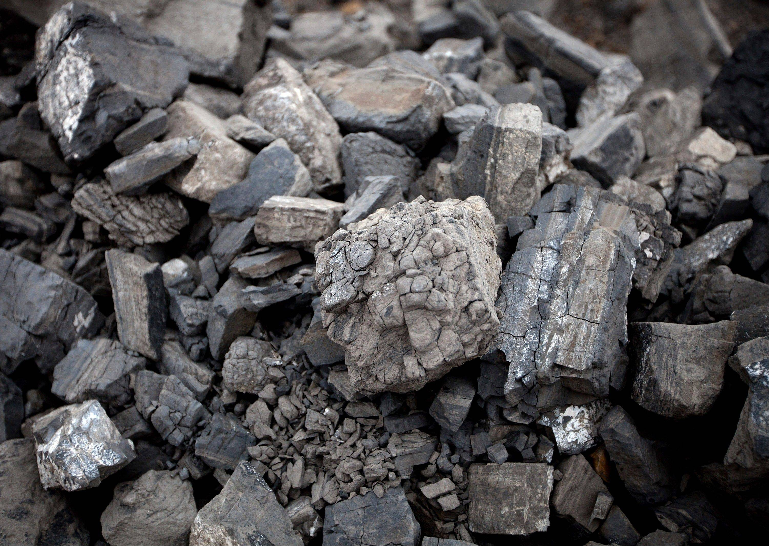 Pieces of coal lay in a pile at the Erdenes Tavan Tolgoi, a coal mining company in Tavan Tolgoi, southern Mongolia.