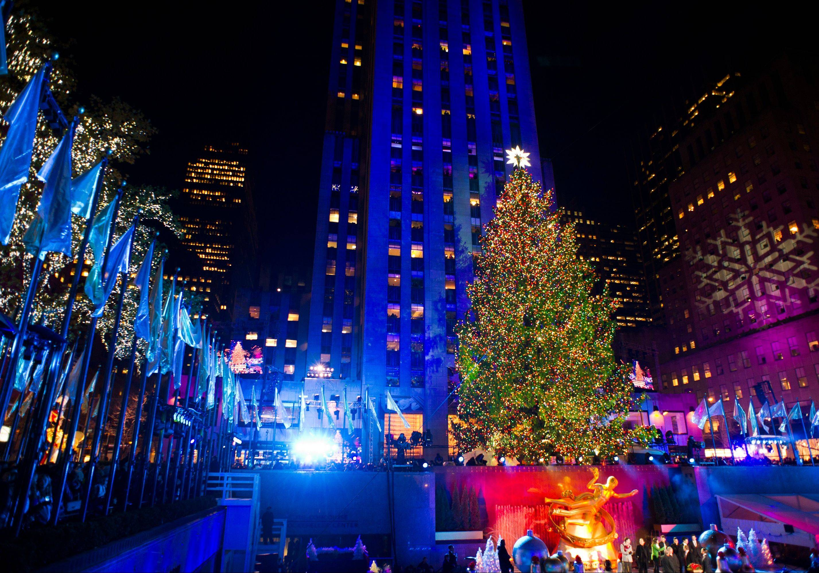 The 80-foot-tall Rockefeller Center Christmas tree uses 45,000 lights. Visitors to Rockefeller Center can also watch ice skaters, take in the Radio City Christmas Spectacular or visit St. Patrick's Cathedral on Fifth Avenue.