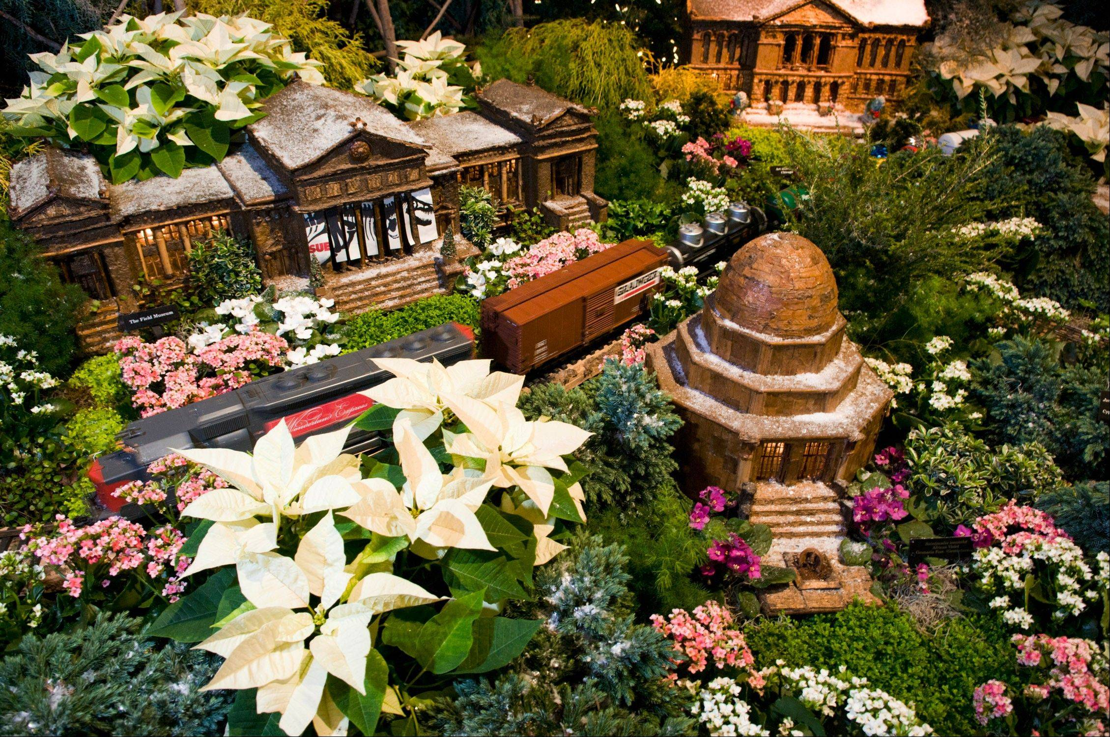 The Wonderland Express winds it way through the display at the Chicago Botanic Garden in Glencoe.