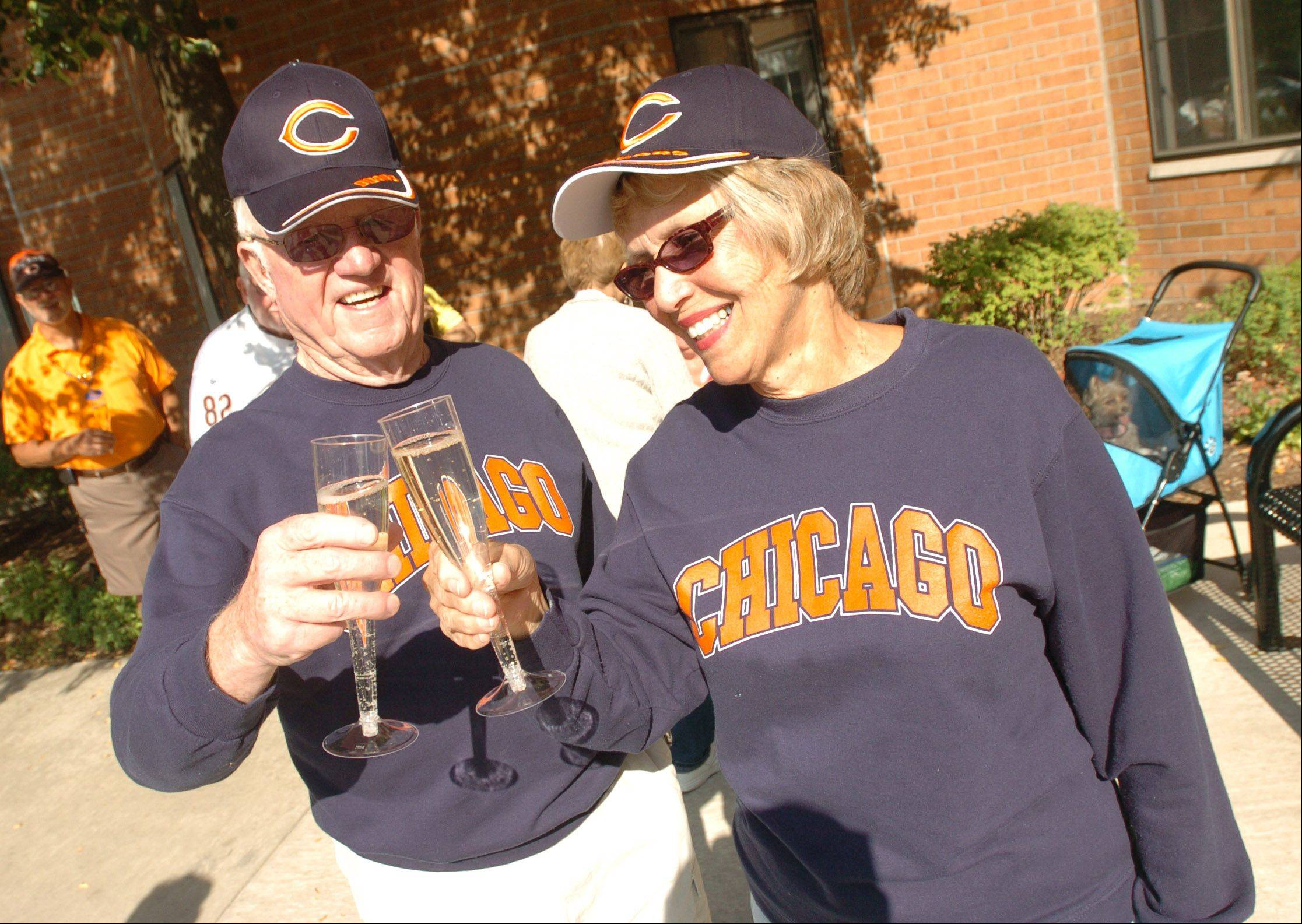 The Golden Wishes program in Bensenville this fall gave Chicago Bears tickets and a round-trip limo ride to the game for Jim and Lauri Collins, pictured, as well as resident Betty Madland and her son, George.