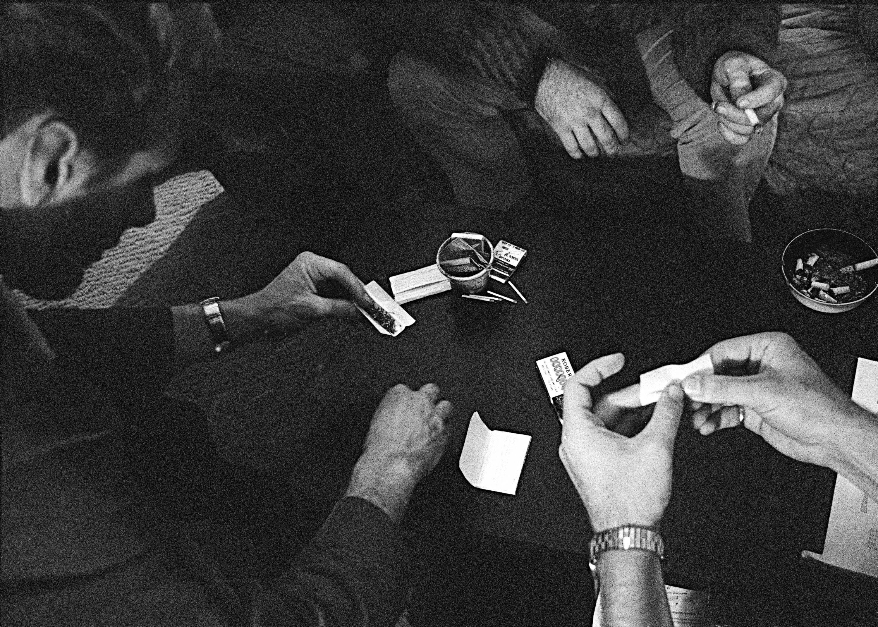"People roll joints at a marijuana party near the University of California at Berkeley campus in Berkeley, Calif, in 1966. In 2012, Washington state and Colorado voted to legalize and regulate its recreational use. But before that, the plant, renowned since ancient times for its strong fibers, medical use and mind-altering properties, was a staple crop of the colonies, an ""assassin of youth,"" a counterculture emblem and a widely accepted -- if often abused -- medicine."