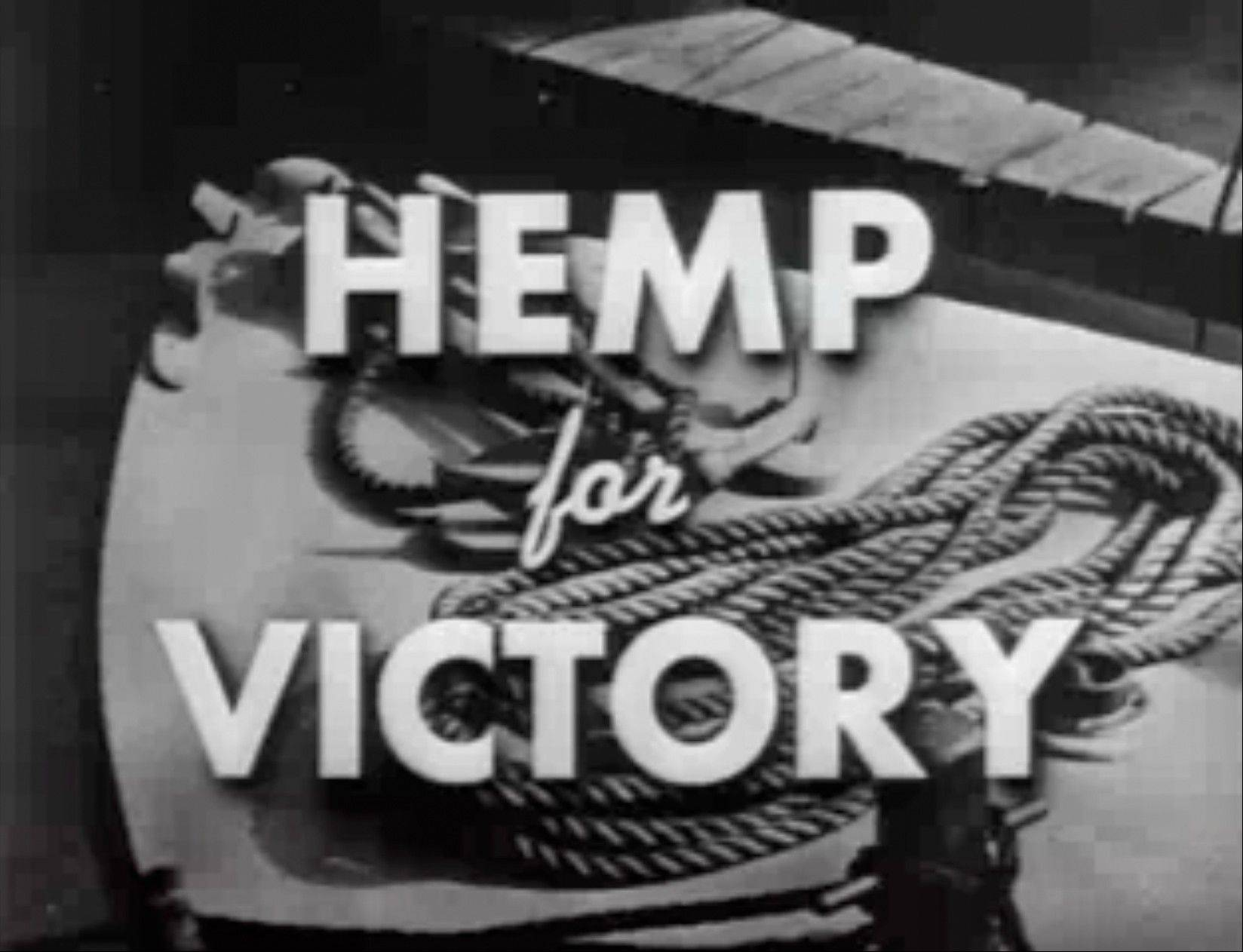 "After Japanese troops cut off access to Asian fiber supplies during the war, the U.S. Department of Agriculture released the propaganda film ""Hemp for Victory"" urging farmers to grow hemp and extolling its use in parachutes and rope for the war effort."