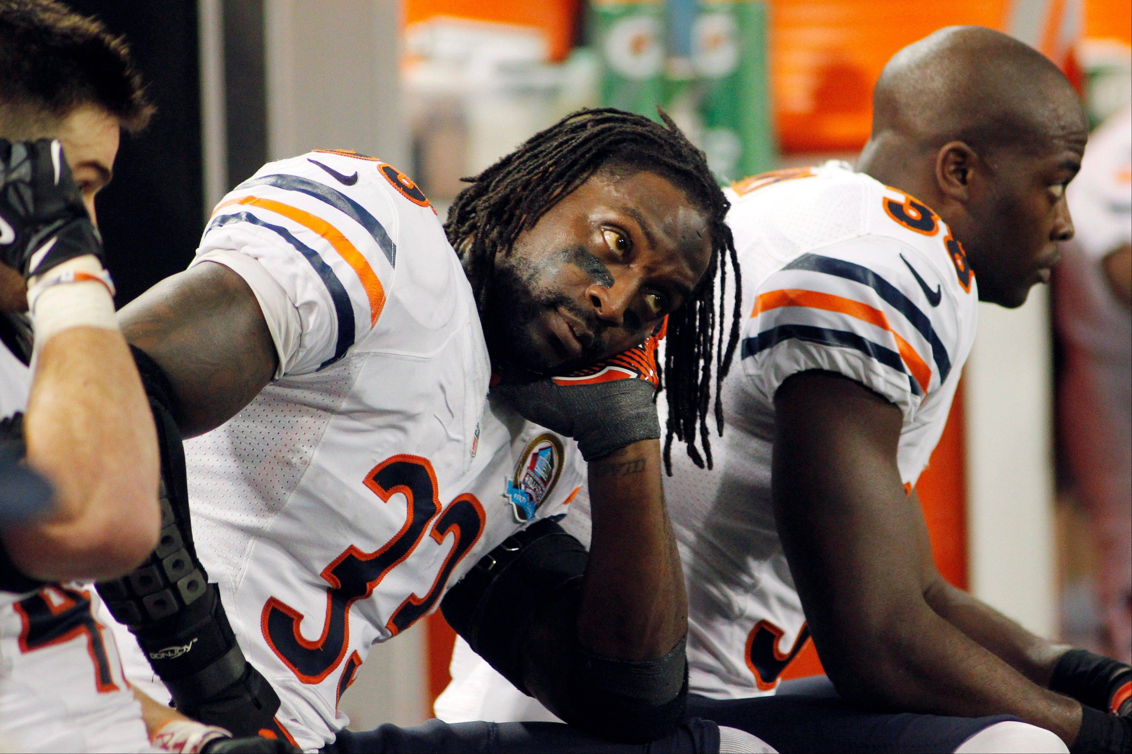 Chicago Bears cornerback Charles Tillman sits on the bench during the second half. The Vikings won 21-14.