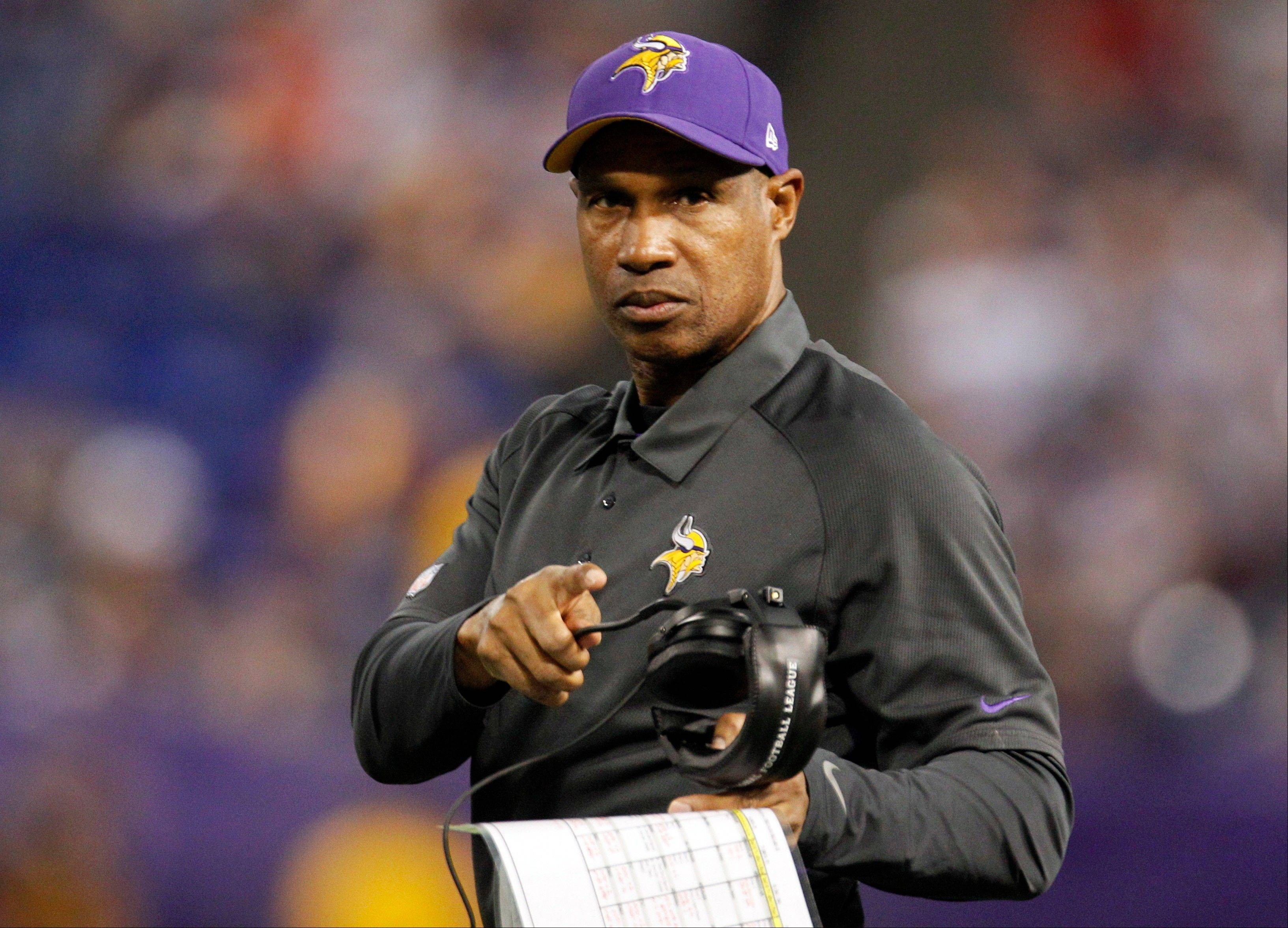 Minnesota Vikings head coach Leslie Frazier looks on during the second half. The Vikings won 21-14.