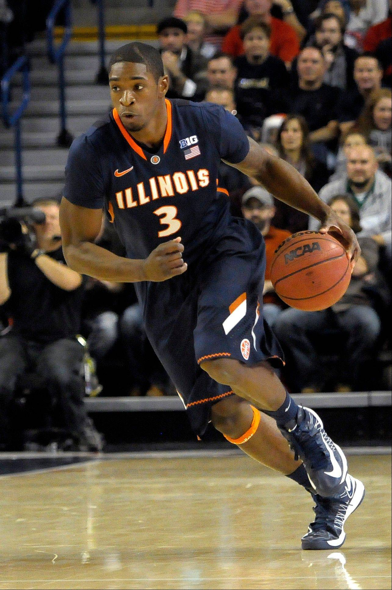 Illinois' Brandon Paul (3) drives down court against Gonzaga in the first half.