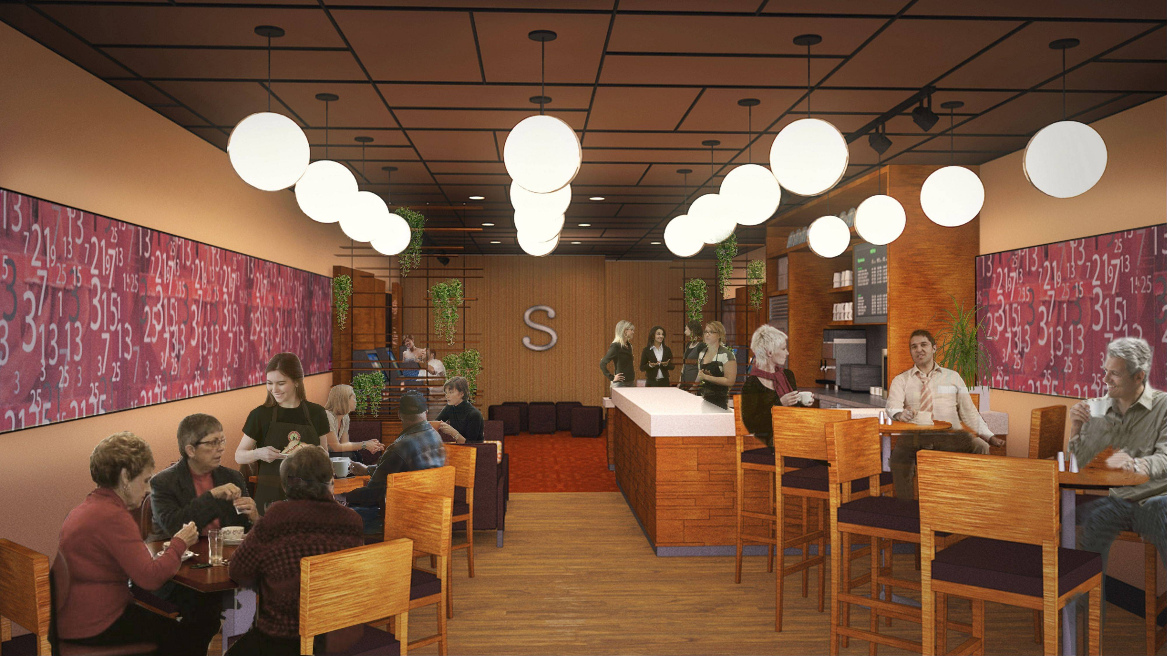 This is a rendering of the interior of Stella�s, a new video gaming cafe offering light food, beer and wine that is coming to Hoffman Estates, and possibly Bartlett, in the spring.