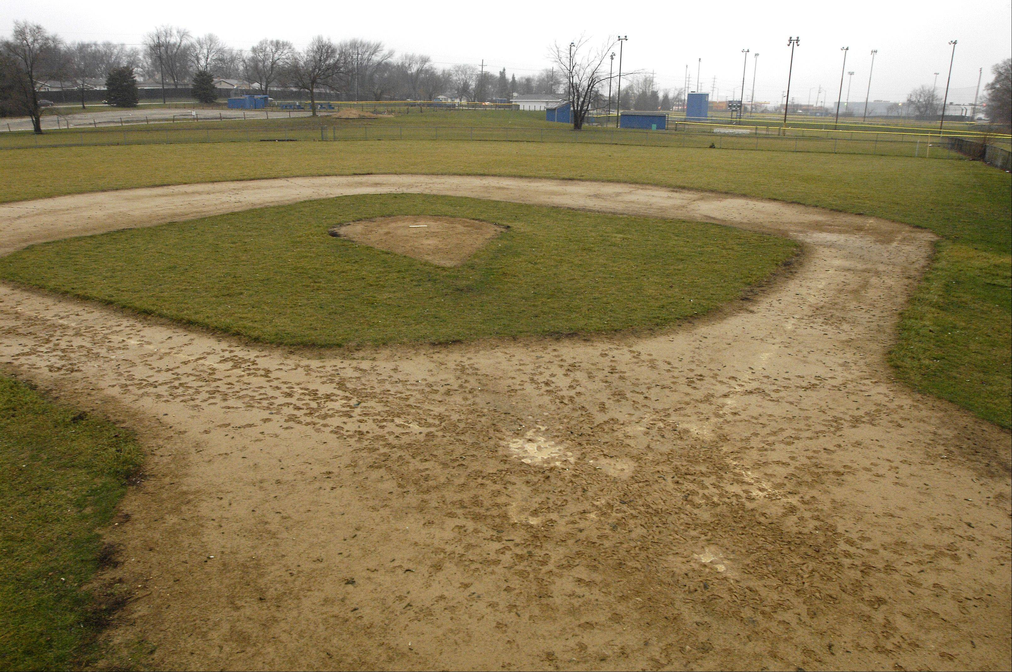 Baseball diamonds at the George J. Goergen Memorial Baseball Fields in Hanover Park sit on the property the village of Hanover Park recently agreed to lease for 39 years from the Metropolitan Water Reclamation District. The village now is awaiting results from soil samples to determine whether the site can accommodate a soccer field.