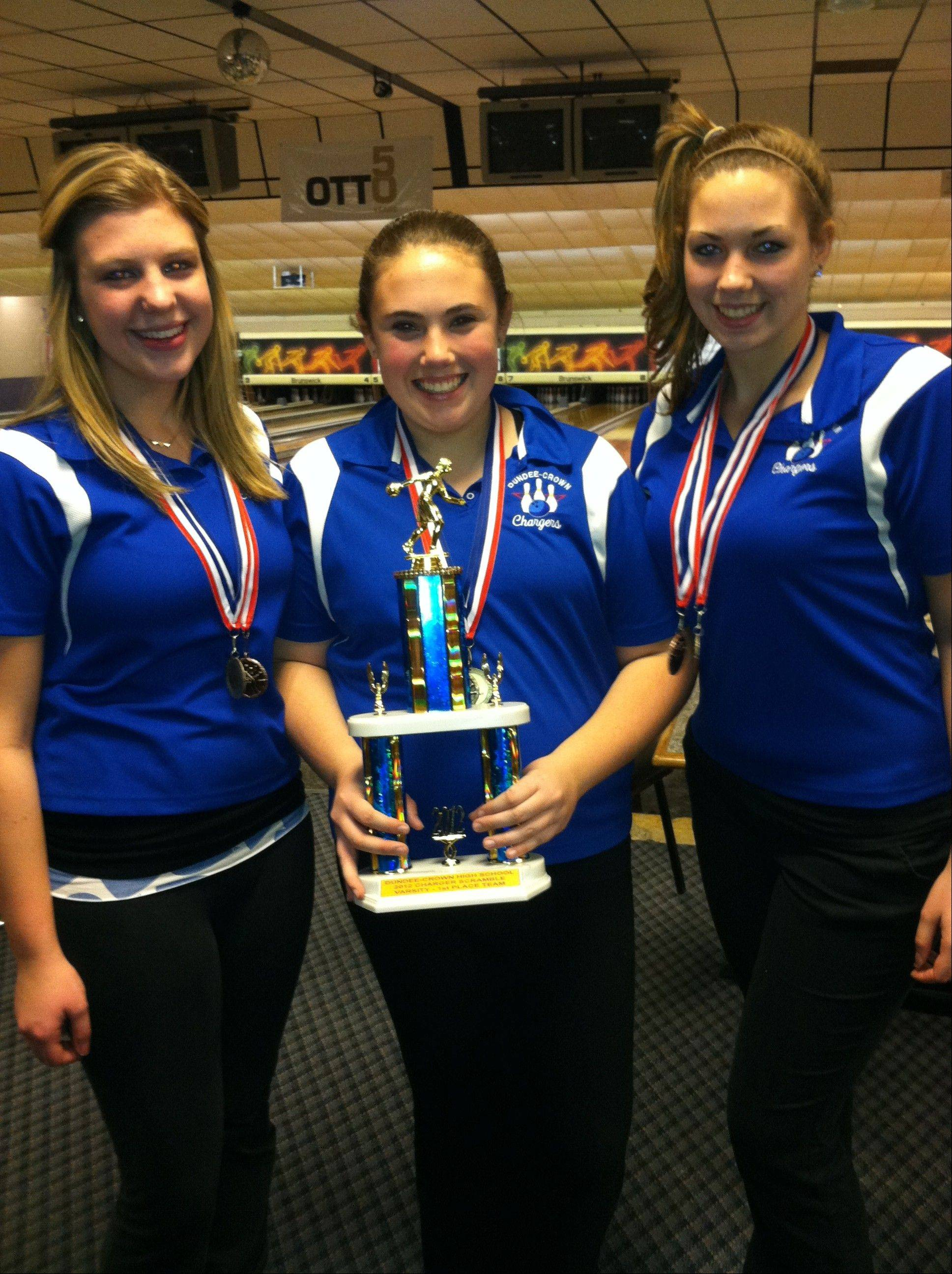 The Dundee-Crown girls bowling team won the recent Charger Scramble, led by Amanda Smith, from left, Karissa Gonio and Angie Tripp.