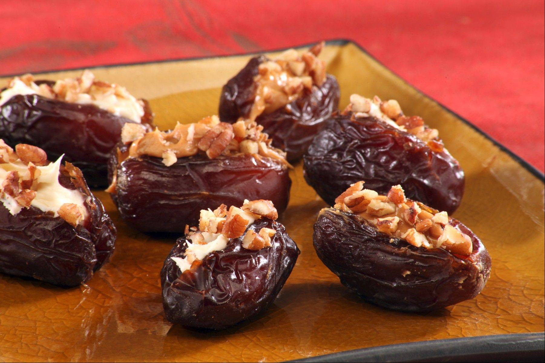 Cream cheese and peanut butter bring new life to stuffed date appetizers.