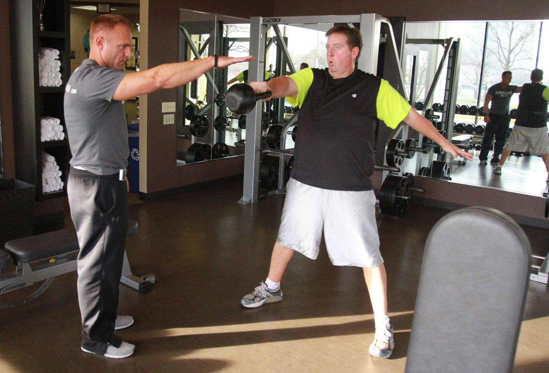 Today Matt Kramer, right, weighs in at 268, 107 pounds less than he weighed in February. He continues to train with Mark Trapp at Push Fitness.